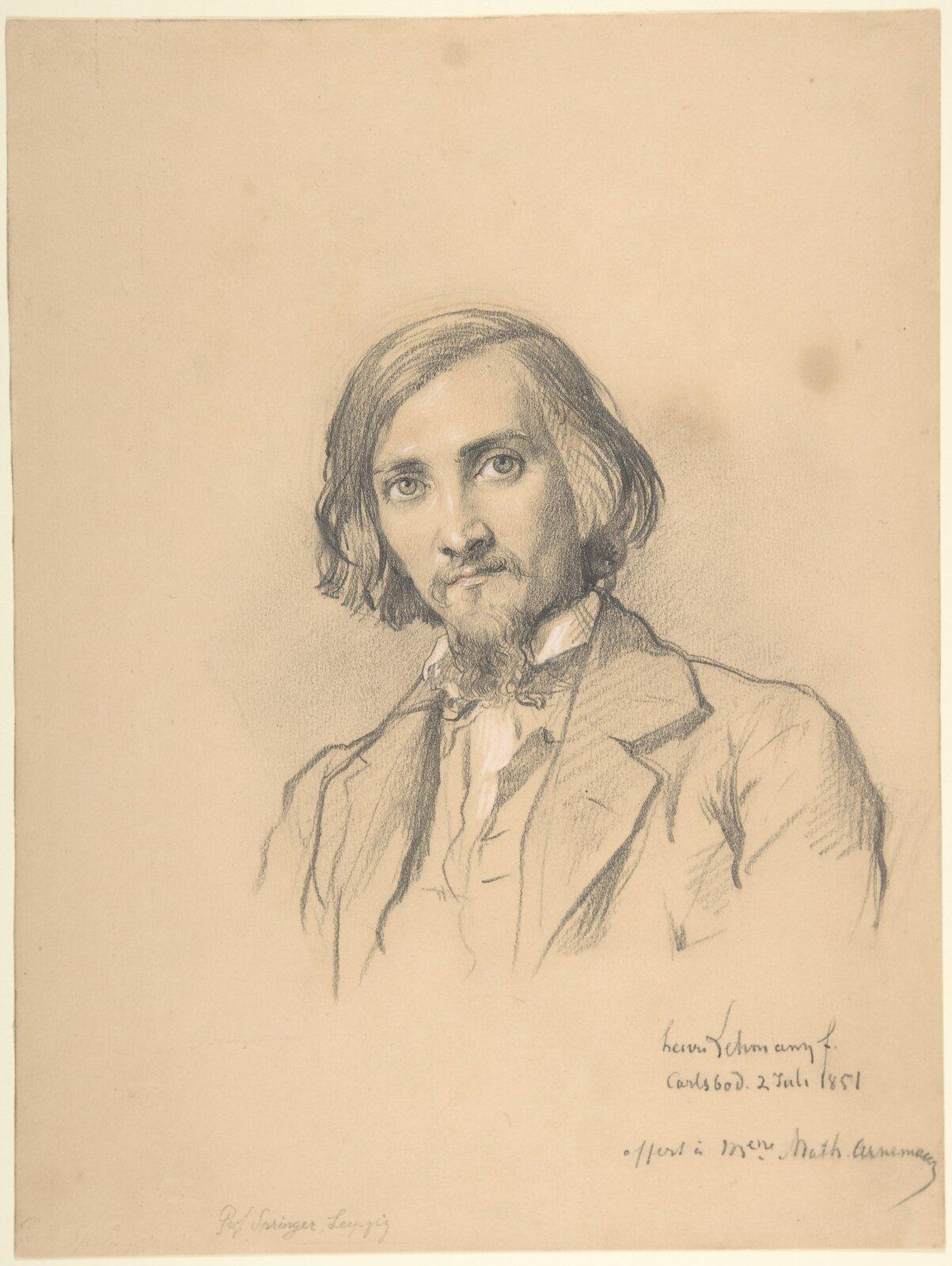 """Ilustracja przedstawia rysunek """"Anton Heinrich Springer"""" autorstwa Henriego Lehmanna. Dzieło ukazuje szkic ołówkiem na pożółkłym papierze. Artysta przy pomocy lekko cieniowanego rysunku stworzył portret młodego mężczyznę zwąsami ibródką. Postać ubrana jest wpłaszcz zdużym kołnierzem, kamizelkę oraz koszulę, która jako jedyna podrysowana jest białą kredką. Półdługie, proste, ciemne włosy zaczesane są na prawą stronę. Twarz zwrócona jest ku odbiorcy, oczy spoglądają lekko wgórę. Wdolnym, prawym rogu pracy widnieje data, notka ipodpis artysty. Rysunek skomponowany jest statycznie, postać mężczyzny znajduje się wjego centrum."""