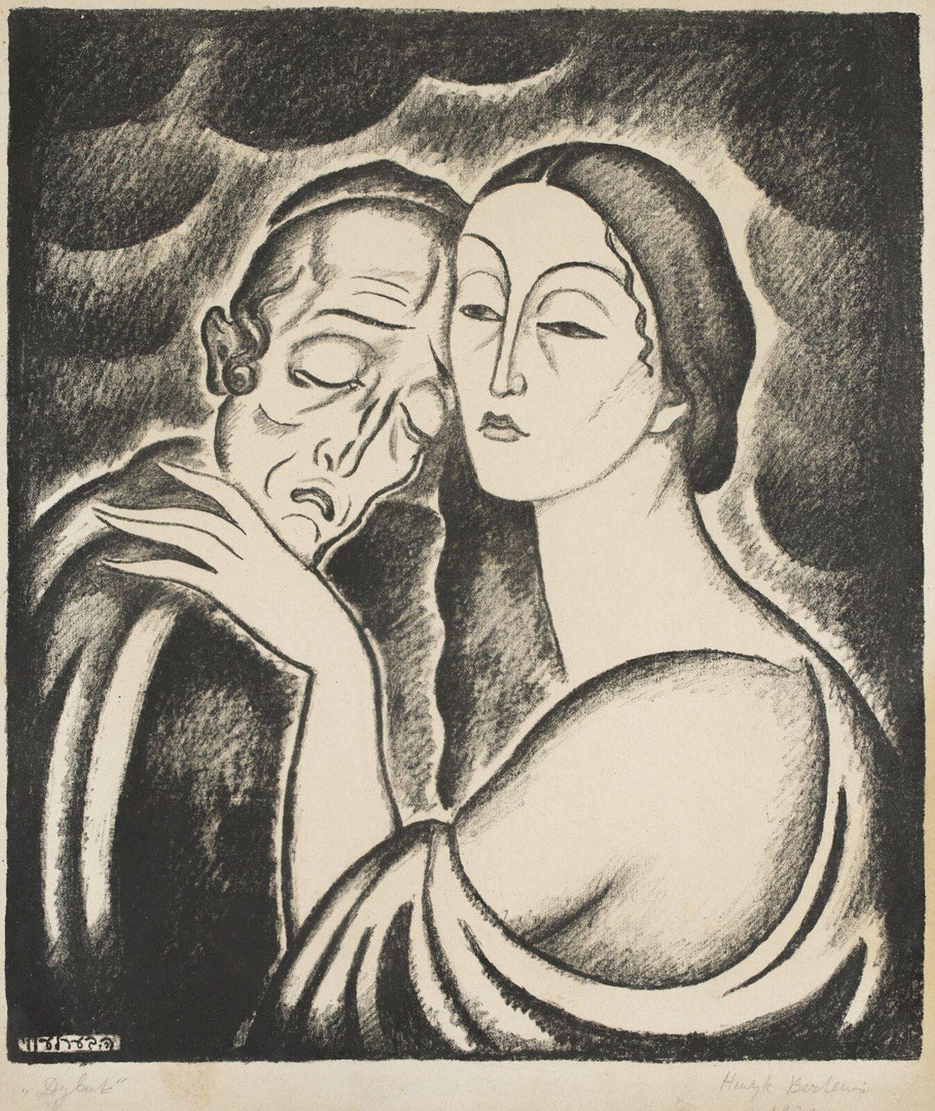 """Ilustracja przedstawia obraz Henryka Berlewiego pt. """"Chonon iLea"""". Na ilustracji widzimy postać starego mężczyzny imłodej kobiety. Mężczyzna opiera głowę ogłowę kobiety."""