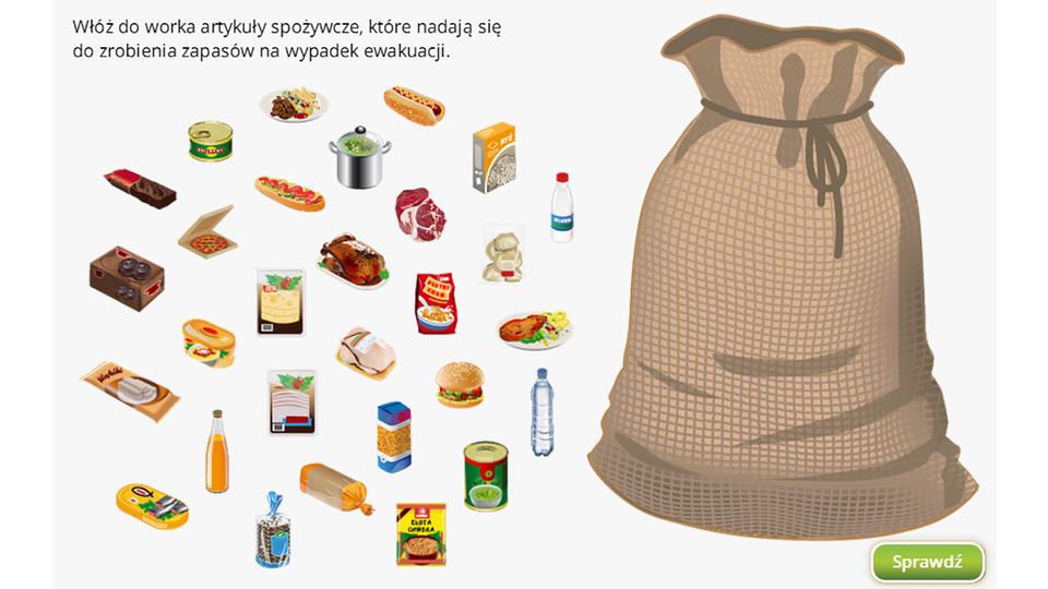 Kolorowa ilustracja przedstawia kilkanaście artykułów spożywczych ułożonych po lewej stronie ilustracji. Po prawej duży brązowy worek. Artykuły spożywcze to: puszki zjedzeniem, butelki znapojami m.in. mleko, woda mineralna, sok pomarańczowy, puszka ryb, torebki zzupą, foliowa paczka żółtego sera, hot dog, ryż wpudełku, zapakowany kurczak, paczka chleba tostowego, kanapki, półmiski zdaniem obiadowym, garnek zwarzywami.