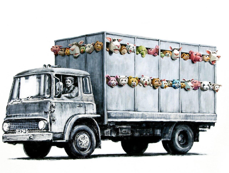 """Rysunek przedstawiający manifest artystyczny Banksy'ego """"The sirens of the lambs"""" Źródło: Duncan Hull, Rysunek przedstawiający manifest artystyczny Banksy'ego """"The sirens of the lambs"""", licencja: CC BY-SA 2.0."""