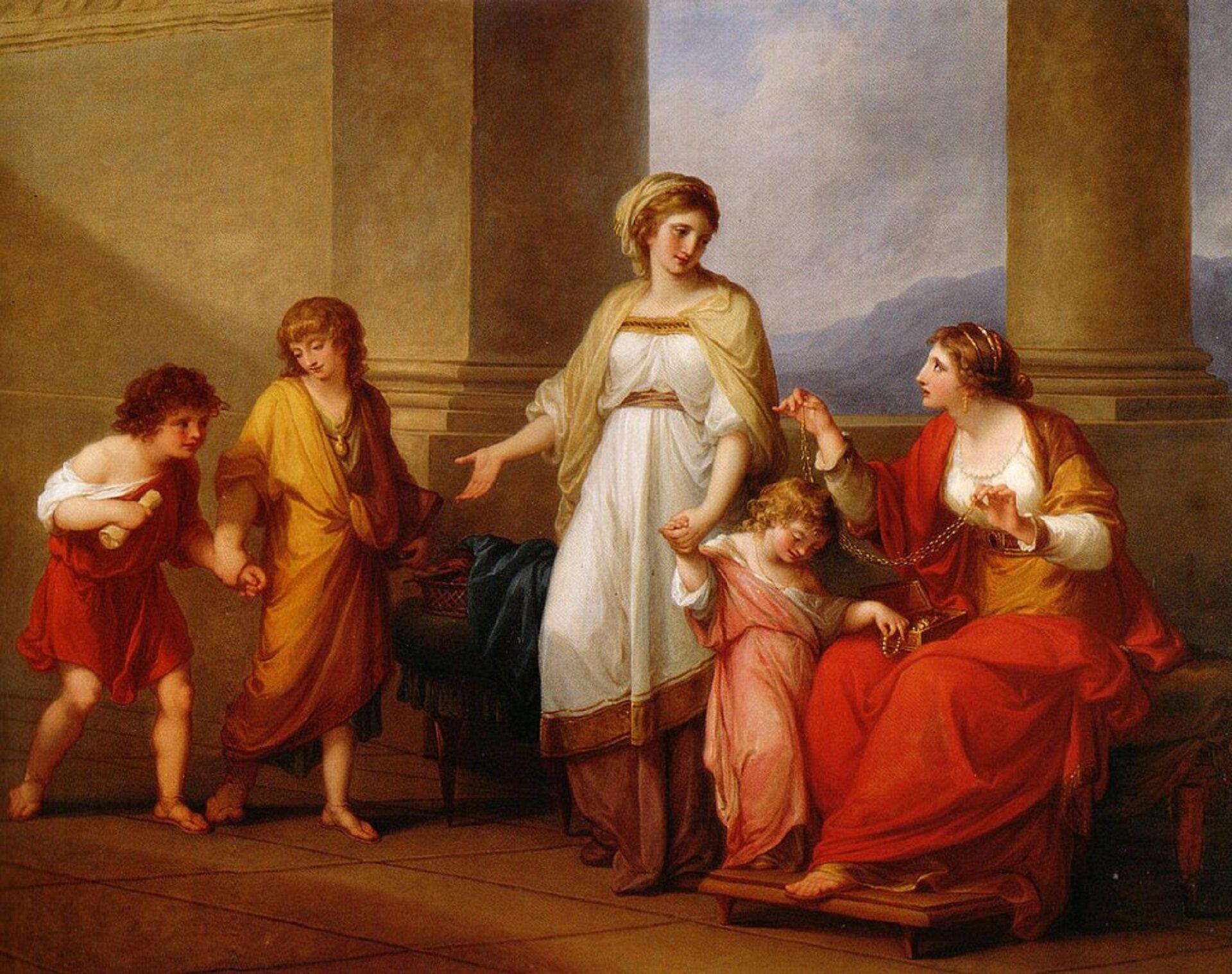 """Obraz autorstwa Angeliki Kaufmann pod tytułem """"Kornelia, Matka Grakchów"""" iprzedstawia ona Długowłosą kobietę ubraną wdługą biało-złotą suknię. Za rękę trzyma małą dziewczynkę, która ubrana jest wbiało-różową suknię. Zjej lewej strony widoczni są dwaj chłopcy ubrani, którzy się skradają. Zprawej strony widoczna jest kobieta wśrednim wieku, ubrana wdługą czerwoną suknię. Wtle widoczne są góry."""