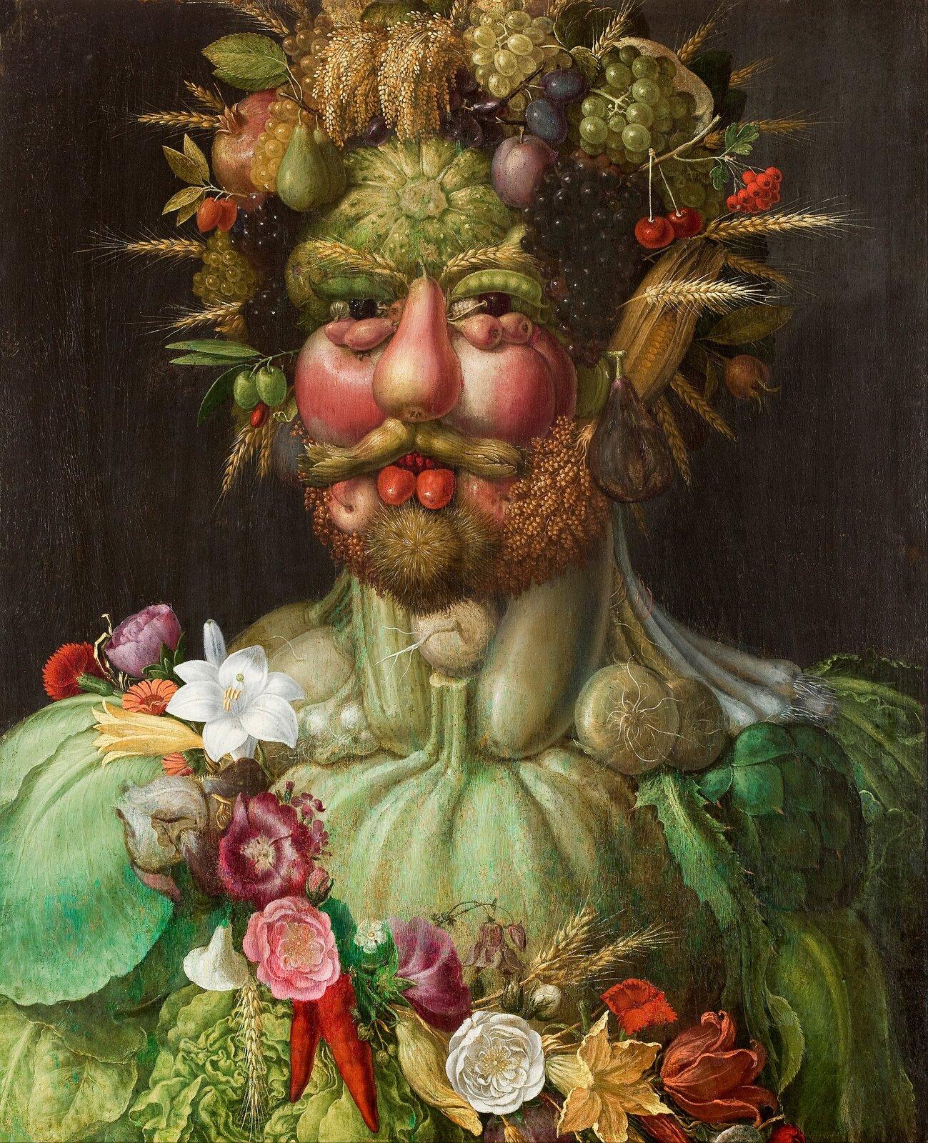 Cesarz Rudolf II Habsburg jako Wertumnus Źródło: Giuseppe Arcimboldo, Cesarz Rudolf II Habsburg jako Wertumnus, 1590, olej na desce, domena publiczna.