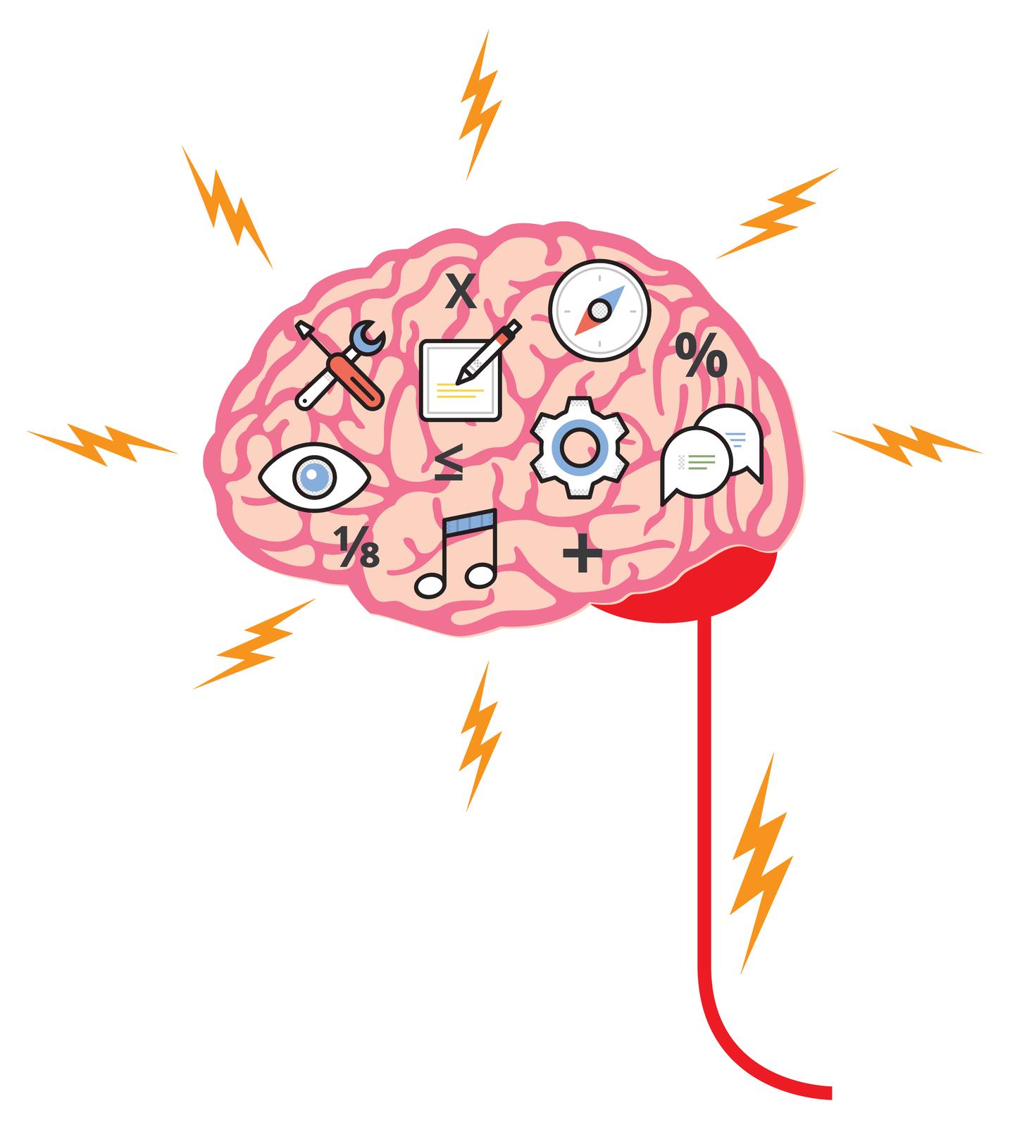 Ilustracja przedstawia rysunek mózgowia człowieka – różowy , pofałdowany mózg, czerwony móżdżek iwychodzący zniego rdzeń kręgowy. Żółte błyskawice dookoła symbolizują impulsy nerwowe. Stale działają one na mózg, pobudzając go do pracy. Na powierzchni mózgu schematyczne rysunki przedstawiają różne aktywności jego obszarów. Okrągły kompas to wyczucie kierunku, dymki czatu to emocje iaktywność werbalna, koło zębate to działanie, nuta to muzyka, oko to zdolność analizowania iprzetwarzania obrazów, narzędzia to zdolności manualne iumiejętność działania, kartka zdługopisem to pisanie. Pomiędzy nimi widać również symbole matematyczne (znak plus, ułamek). Są to działania logiczne.