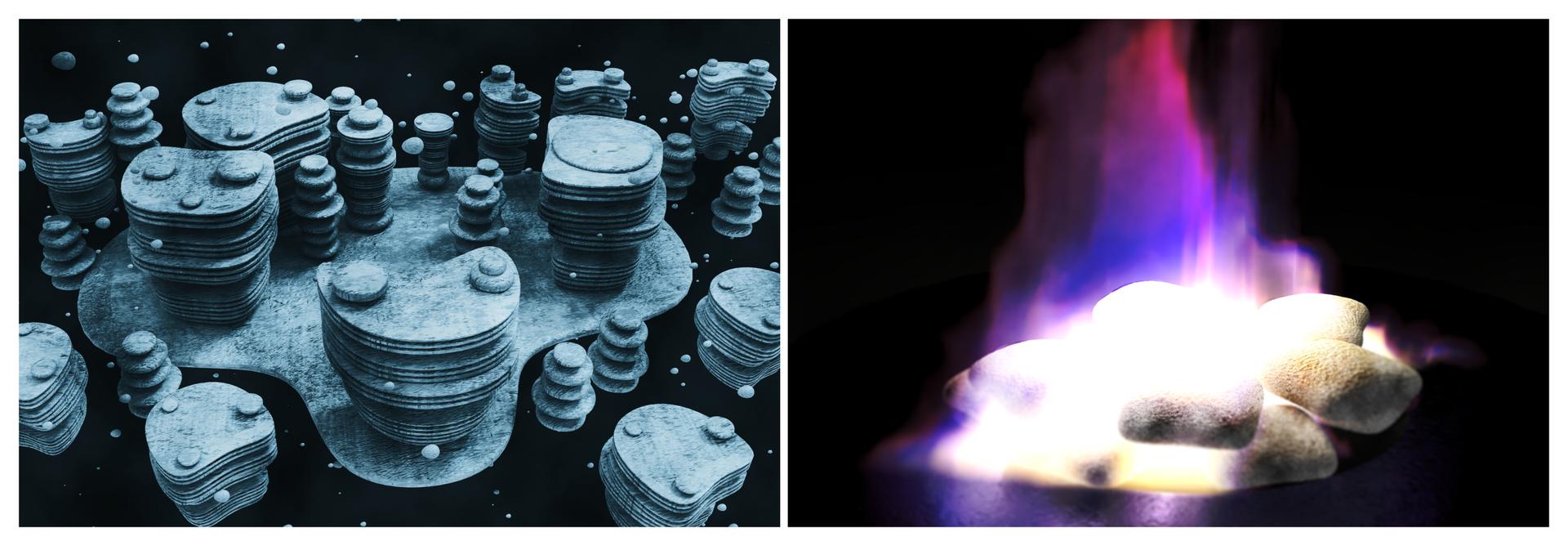 Dwie grafiki przedstawiające złoża zmrożonego metanu. Widać palące się klatraty.