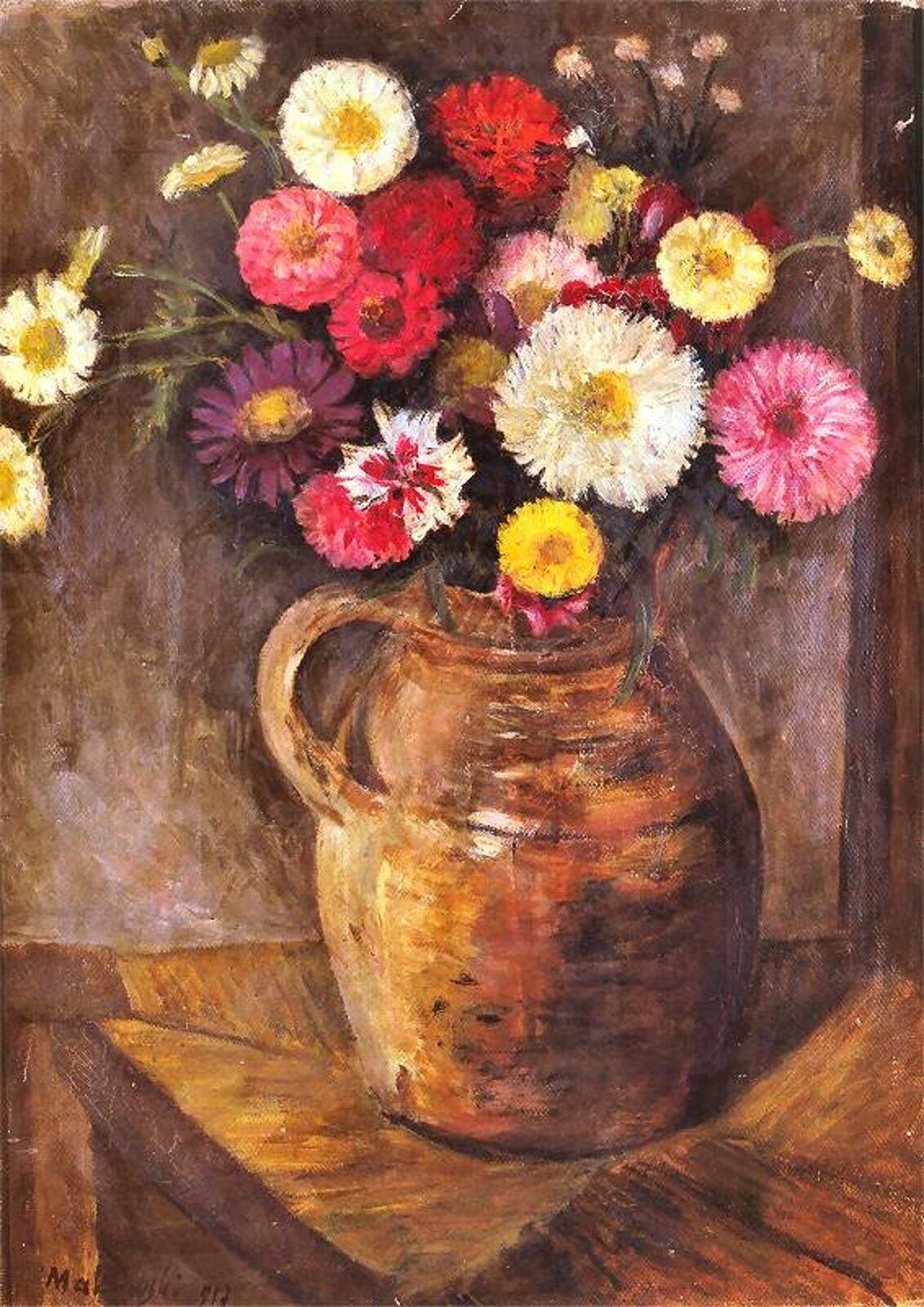 """Ilustracja przedstawia obraz pt. """"Astry icynie wglinianym dzbanku"""" autorstwa Tadeusza Makowskiego. Obraz ukazuje kolorowe kwiaty (astry, cynie) wglinianym dzbanie. Naczynie znajduje się na stole."""