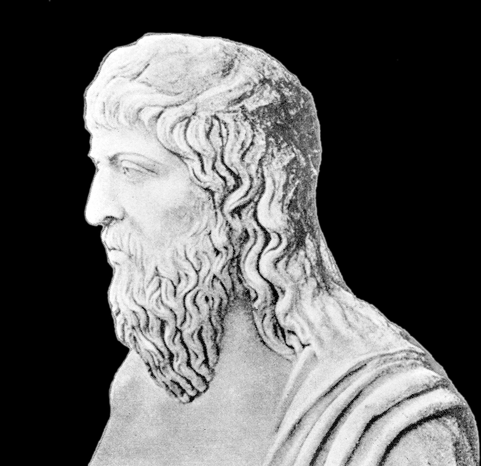 Zdjęcie przedstawia kamienne popiersie Heraklita zEfezu. Tło czarne. Widoczny lewy profil. Włosy półdługie, nachodzące na czoło. Nos długi, prosty. Wąsy idługa, falująca broda, sięgająca do obojczyków. Przez lewe ramię przerzucona szata.