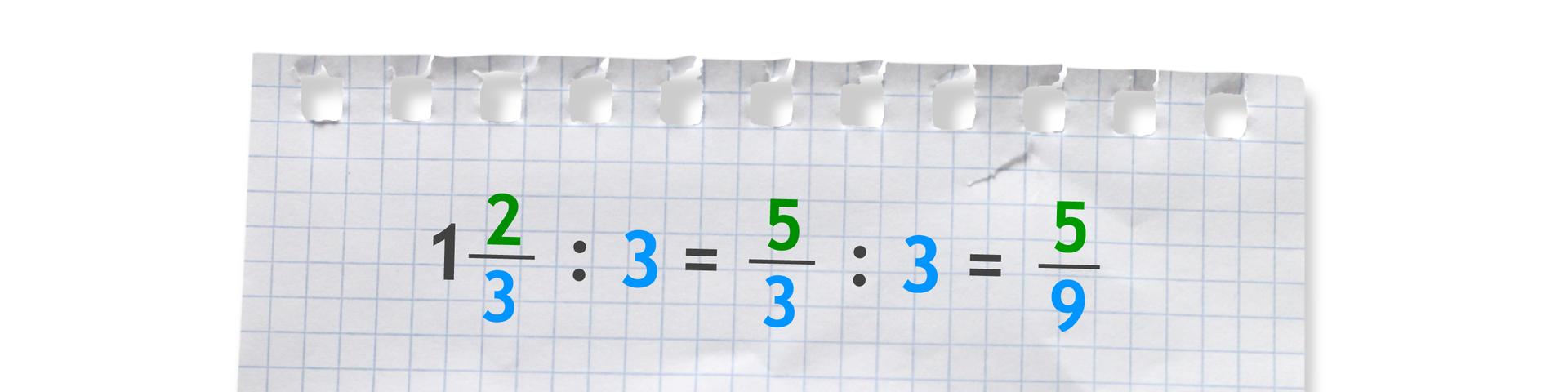 Przykład: jedna cała idwie trzecie dzielone przez 3 równa się pięć trzecich dzielone przez 3 równa się pięć dziewiątych.