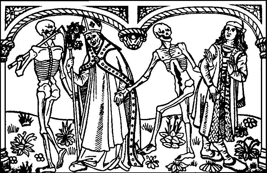 Danse macabre Kim są postacie zabierane przez Śmierć? Czemu służytaki ich dobór? Źródło: Guyot Marchant, Danse macabre, 1486, domena publiczna.