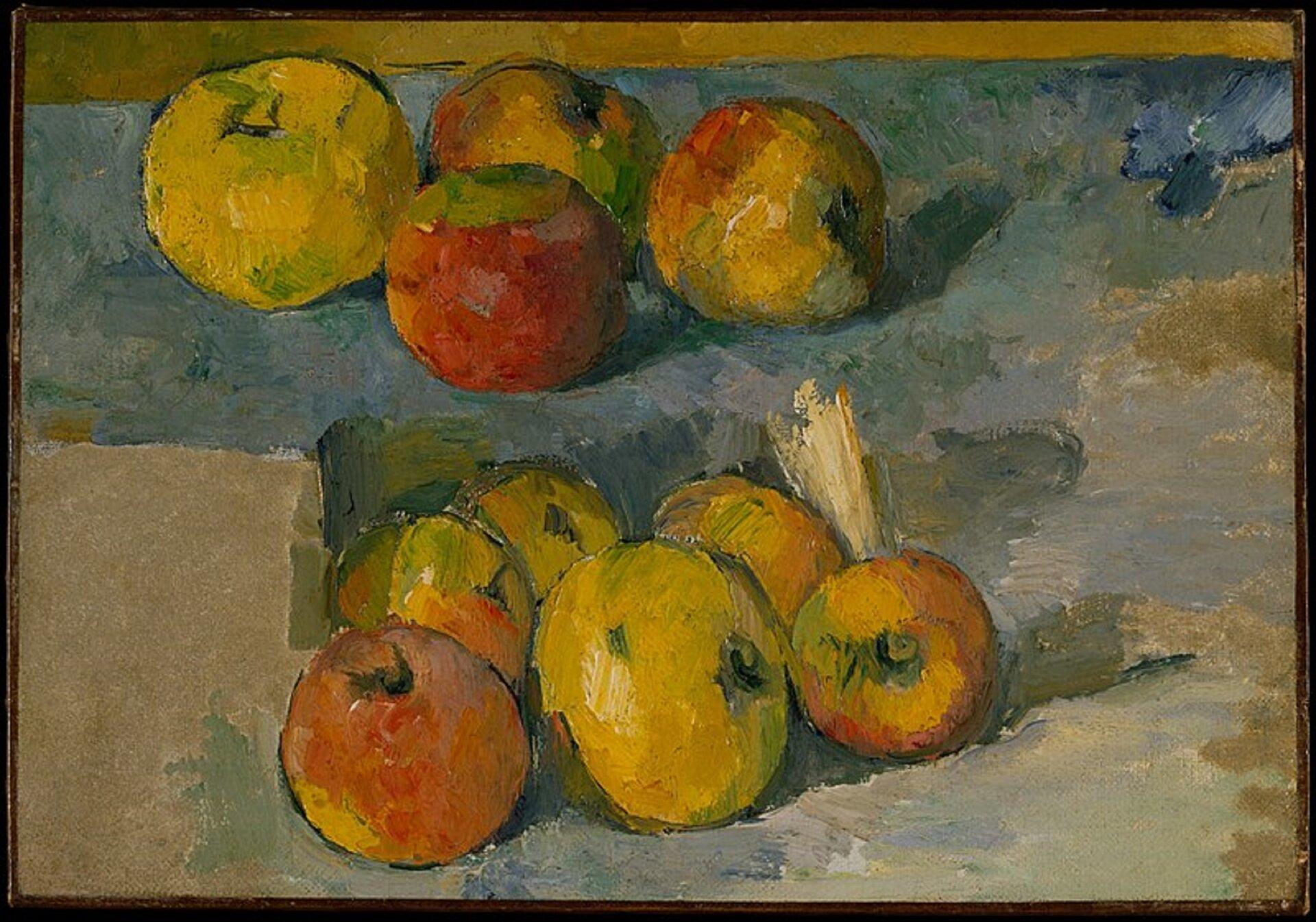 """Ilustracja przedstawia obraz Paula Cézanne'a """"Jabłka"""". Jest martwą naturą. Na stole leżą jabłka - wgórnej części cztery, wdolnej - sześć. Jedne są żółto-zielone, inne czerwono-żółte lub czerwono-zielone. Artysta użył płaskiej plamy barwnej - farba nałożona jest szerokim pędzlem, pozostawiając wyrazistą fakturę. Stół jest niebieskawo-szary ibeżowy. Ugóry tło wypełnia oliwkowo-zielony pas."""