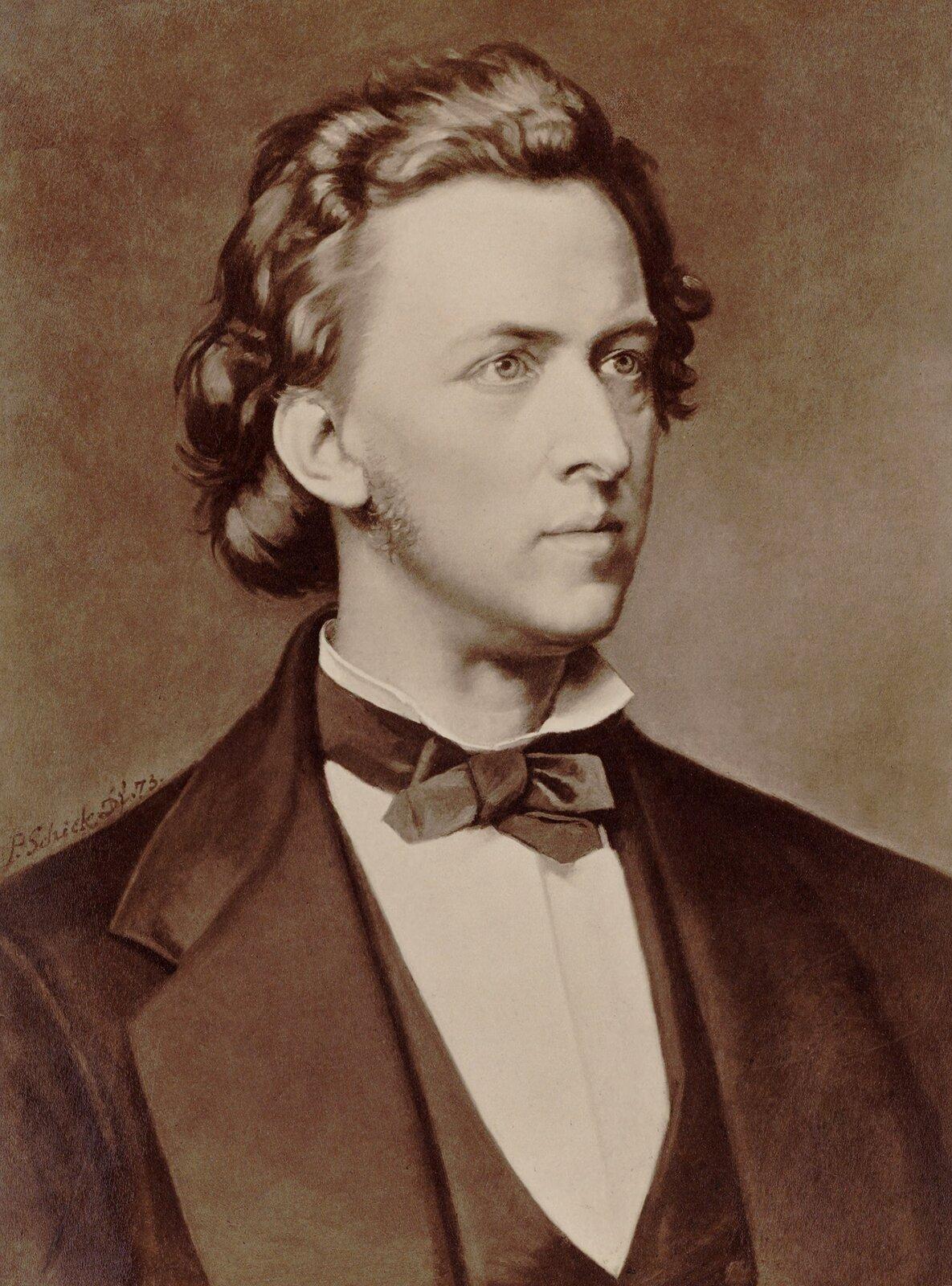 Fryderyk Chopin Źródło: P. Schick, Fryderyk Chopin, 1873, domena publiczna.