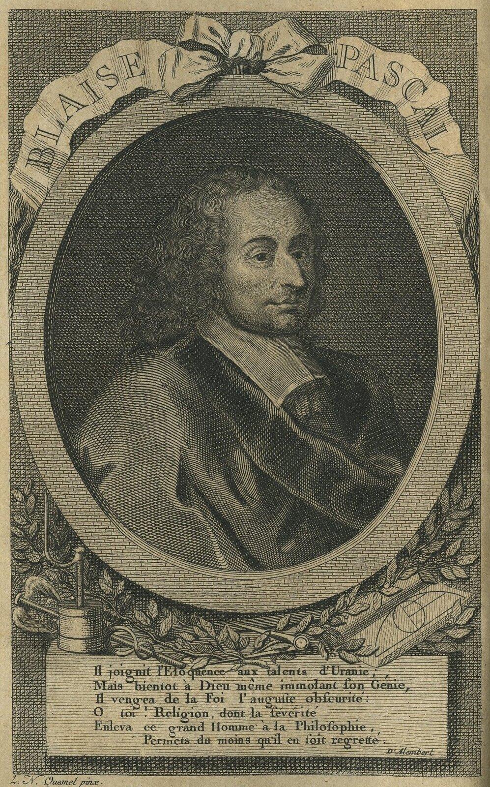 Frontispis (strona znajdująca się przed kartą tytułową) wedycji dzieł Pascala wydanych w1779 roku – zawiera rycinę zpodobizną autora Frontispis (strona znajdująca się przed kartą tytułową) wedycji dzieł Pascala wydanych w1779 roku – zawiera rycinę zpodobizną autora Źródło: 1779, domena publiczna.
