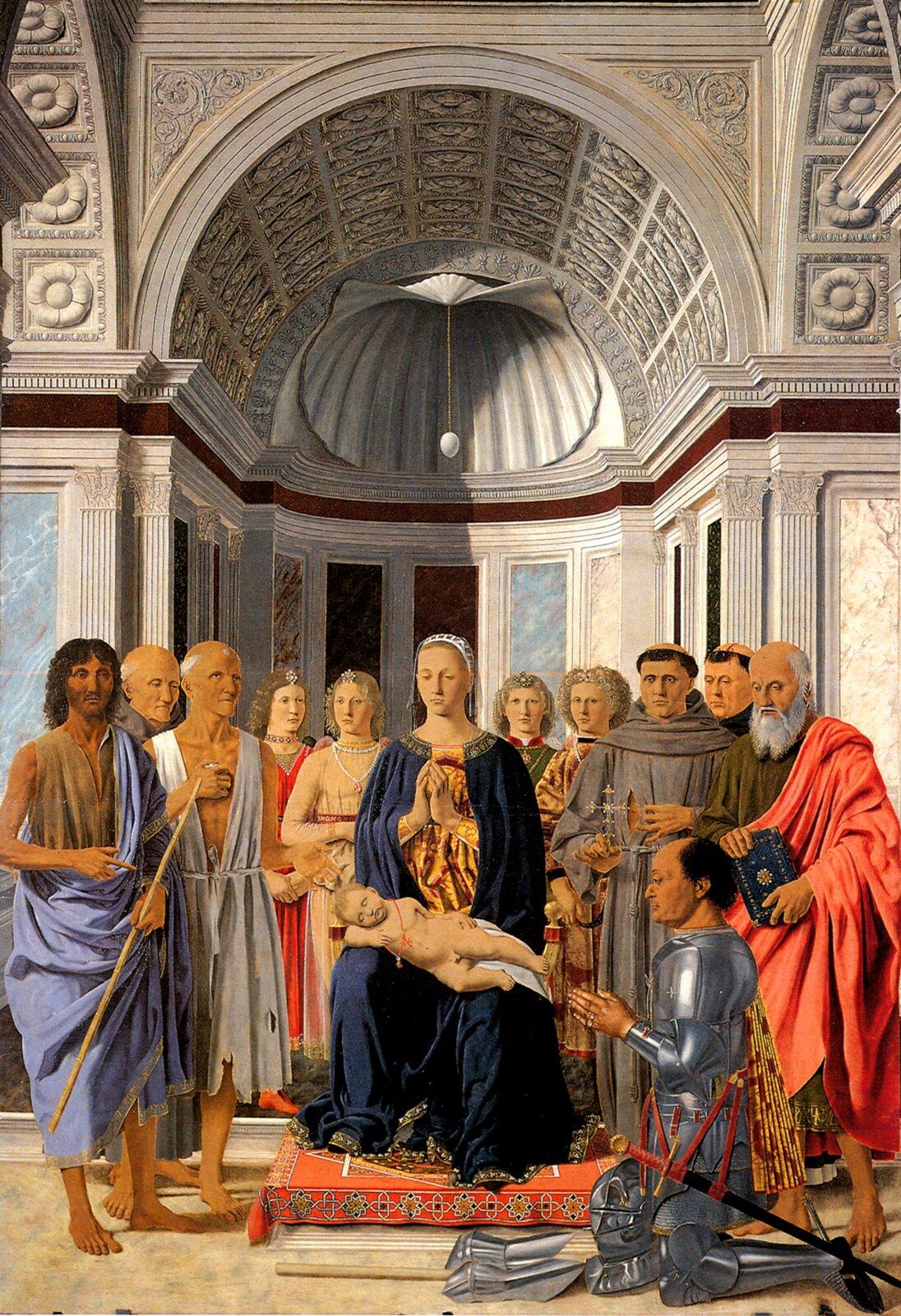 Madonna wśród świętych Źródło: Piero della Francesca, Madonna wśród świętych, ok. 1472-1474, tempera na desce, Pinacoteca Brera, Mediolan, domena publiczna.