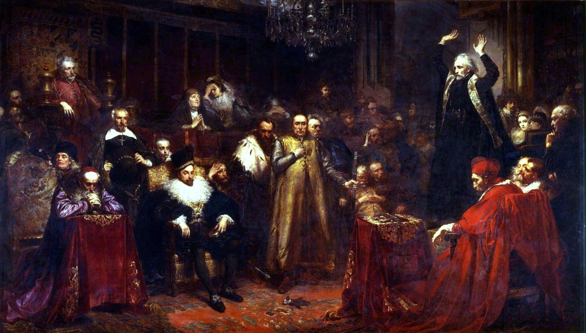 Kazanie Skargi Źródło: Jan Matejko, Kazanie Skargi, 1864, olej na płótnie, Zamek Królewski wWarszawie, domena publiczna.
