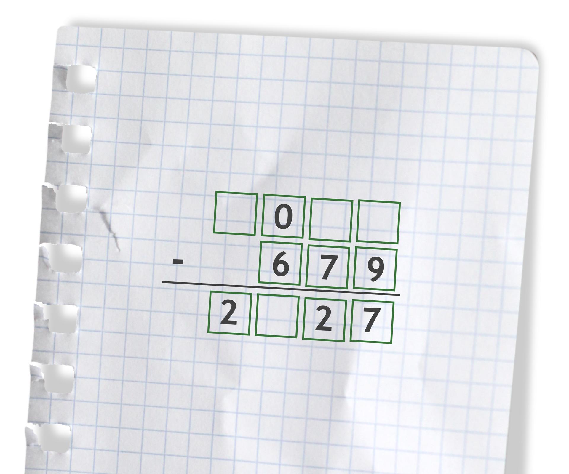 Przykład - puste miejsca do uzupełnienia cyframi: puste 0 puste puste odjąć 679 =2 puste 27.