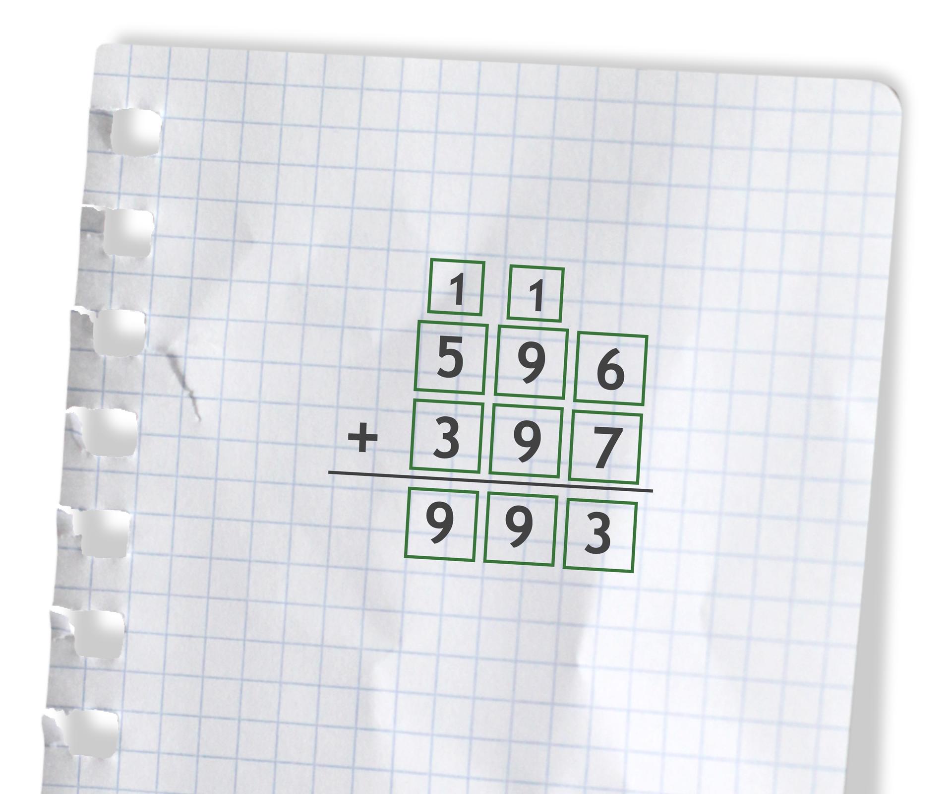 Przykład: 596 +397 =993. Rozwiązanie zadania podpunkt d.