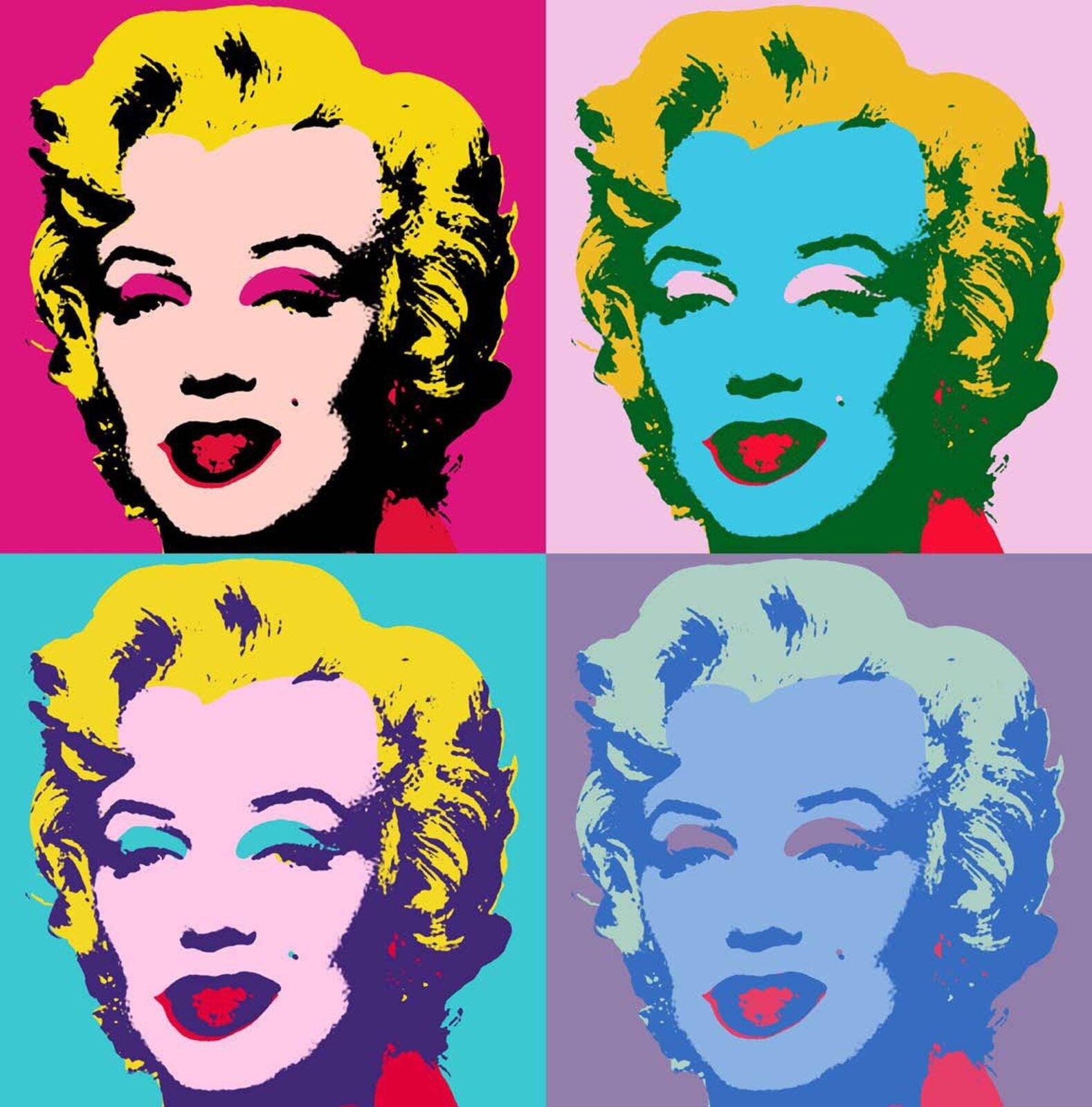 """Ilustracja przedstawia obraz """"Marilyn Monroe"""" autorstwa Andyego Warhola. Wykonane techniką serigrafii na płótnie dzieło ukazuje zmultiplikowany portret Marilyn Monroe. Kompozycja podzielona jest na cztery równe części. Wkażdej znich znajduje się to samo ujęcie artystki ukazane jednak winnych, nakładanych płasko kolorach. Najbardziej wyrazisty jest portret umieszczony ugóry po lewej stronie. Cienie namalowane są czarną farbą, włosy są żółte natomiast powieki itło jaskrawo-różowe. Jedynie karnacja ma stonowany, cielisto-różowy kolor. Obok, po prawej stronie znajduje się portret ozielonych cieniach, pomarańczowych włosach, jasnoróżowych powiekach itle oraz błękitnej twarzy. Wlewej dolnej partii obrazu ukazany jest wizerunek ofioletowych cieniach, cytrynowo-żółtych włosach, błękitnych powiekach itle oraz jasno-różowej karnacji. Obok, wprawym dolnym rogu, artysta namalował najbardziej stonowany portret. Cienie są niebieskie, włosy blado-zielone, powieki itło to zgaszony fiolet, natomiast karnacja to jasny niebieski. Jedynym powtarzającym się kolorem jest czerwień ust Merlin. Dzięki prostemu zabiegowi kolorystycznemu artysta zjednej fotografii stworzył cztery, zupełnie różne wswym nastroju wizerunki gwiazdy."""