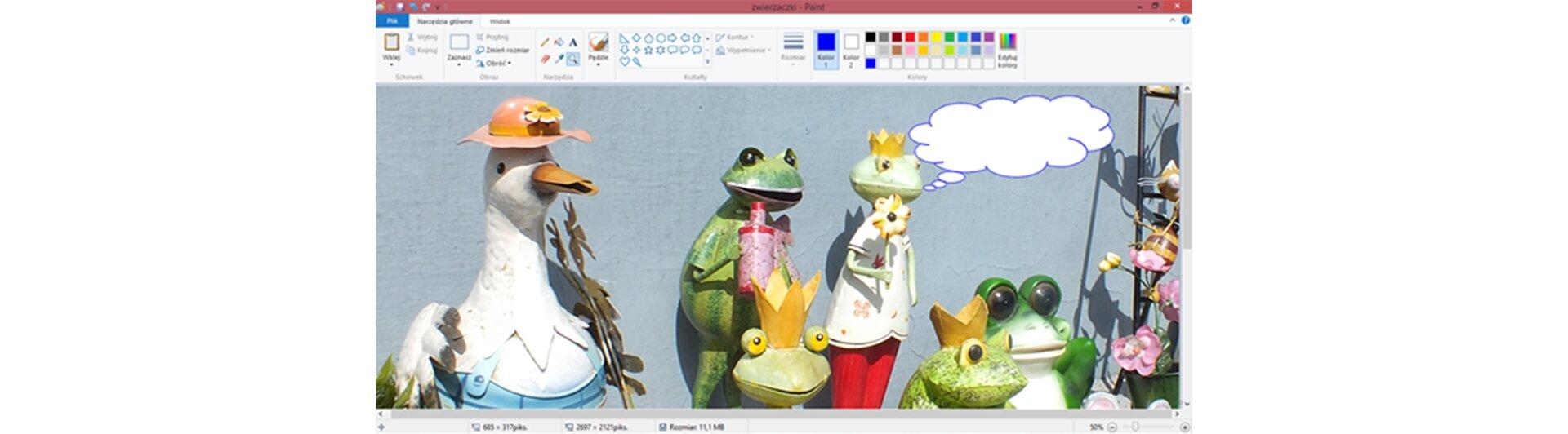 Zrzut okna programu Paint zilustracją przedstawiającą stworki