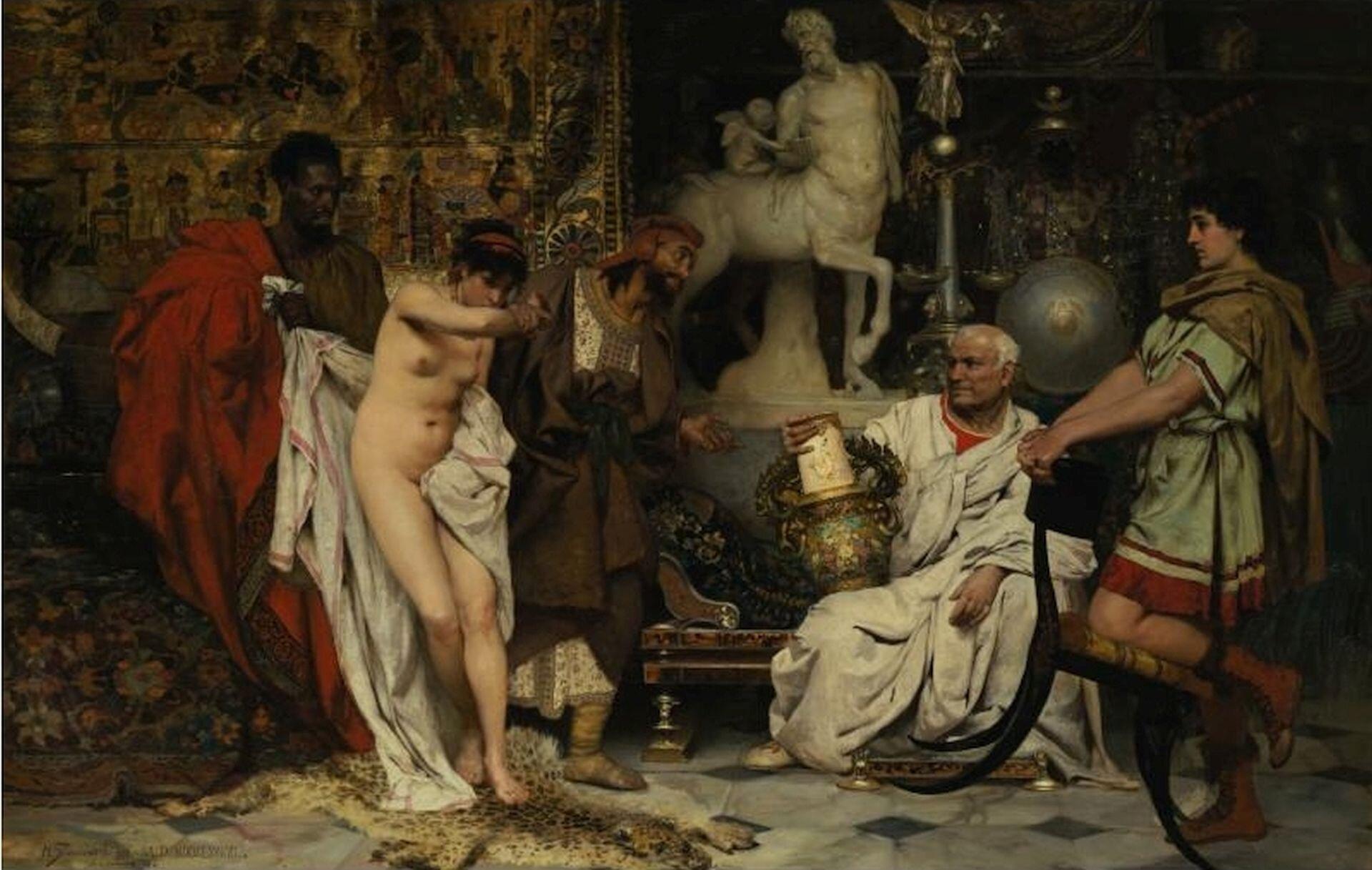 """Obraz autorstwa Henryka Siemieradzkiego pod tytułem """"Wazon czy kobieta"""" przedstawia grupę osób przebywającą wbogato zdobionej sali. Wpomieszczeniu znajduje się półnaga kobieta próbująca zakryć swoją twarz. Obok niej stoją czarnoskórzy handlarze próbujący sprzedać niewolnicę . Przygląda się jej siedzący bogaty Rzymianin. Wręku trzyma on bogato zdobiony wazon. Na kobietę patrzy też młody mężczyzna, który stoi opierając się okrzesło."""