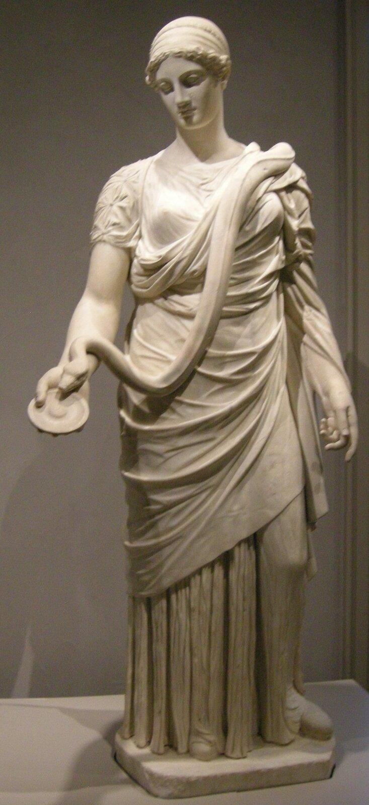 Ilustracja przedstawia posąg – wyobrażenie Hygei, bogini zdrowia. Kobieta stoi wyprostowana, zgłową przechyloną wlewą stronę. Prawą rękę ma wyciągniętą, trzyma wniej czarkę. Po jej ramionach pełznie wąż, wkierunku czarki. Wąż symbolizuje odradzanie się, odnowę idługowieczność. Hygea była wzorem zdrowego życia wzgodzie zrozumem.