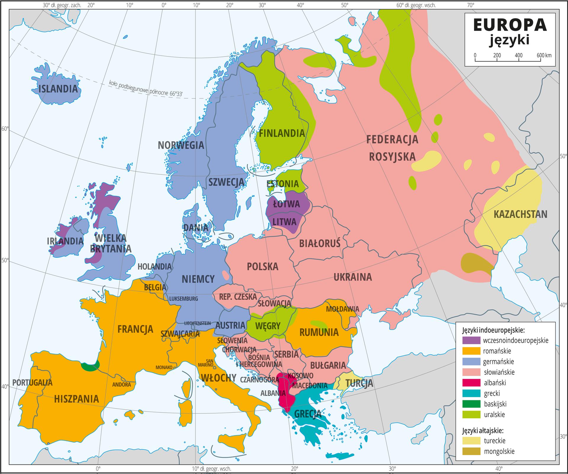 Ilustracja przedstawia mapę Europy. Na mapie granice państw. Nazwy państw opisano. Kolorami przedstawiono języki – wprzeważającej części Europy języki indoeuropejskie (słowiańskie, germańskie, romańskie, albański, grecki, baskijski, uralskie, wczesnoindoeuropejskie), dalej na wschód języki ałtajskie: mongolskie, tureckie. Mapa zawiera południki irównoleżniki, dookoła mapy wbiałej ramce opisano współrzędne geograficzne co dziesięć stopni.
