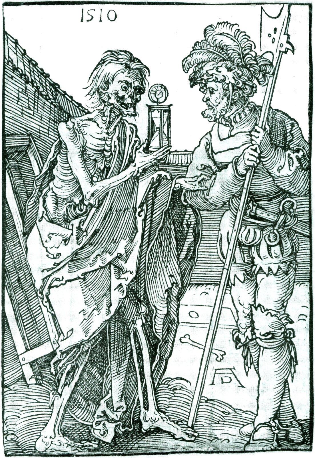 Śmierć irycerz Wyjaśnij,co symbolizuje przedmiot trzymany przez Śmierć. Źródło: Albrecht Dürer, Śmierć irycerz, 1510, drzeworyt, domena publiczna.