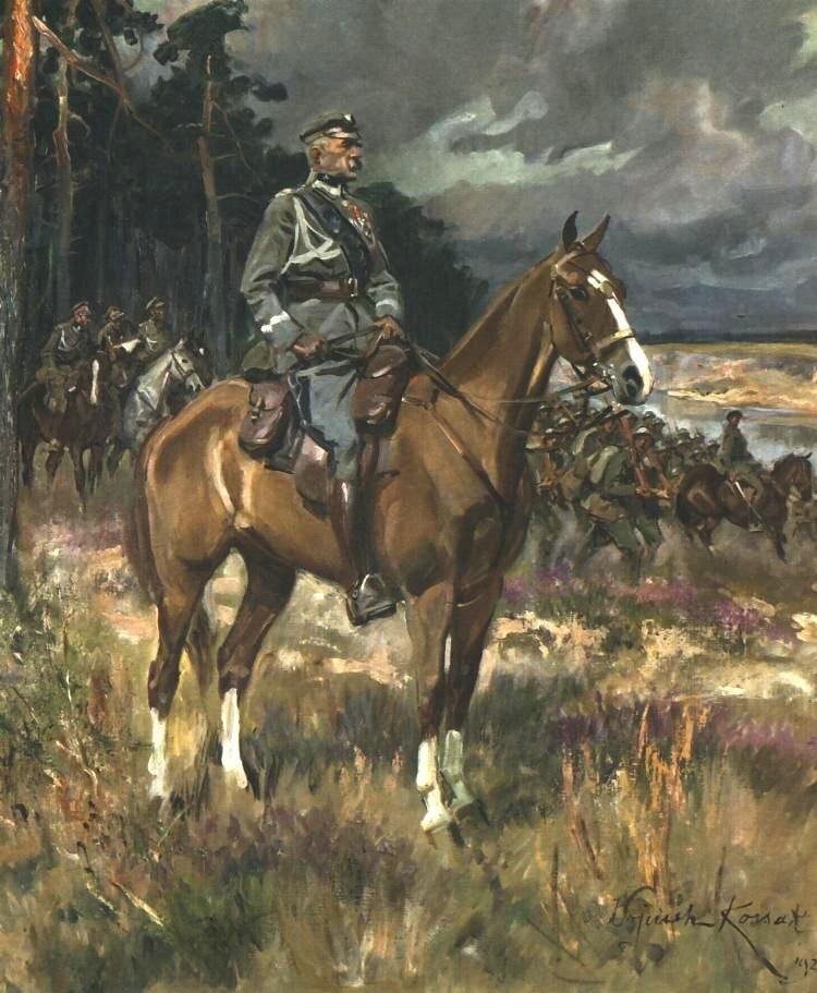 Marszałek Józef Piłsudski na Kasztance Marszałek Józef Piłsudski na Kasztance Źródło: Wojciech Kossak, 1928, domena publiczna.