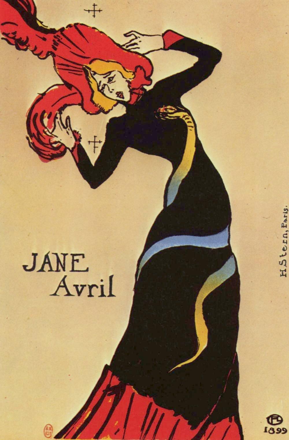Jane Avril Ilustracja 3 Źródło: Henri Toulouse-Lautrec, Jane Avril, 1899, litografia barwna, domena publiczna.