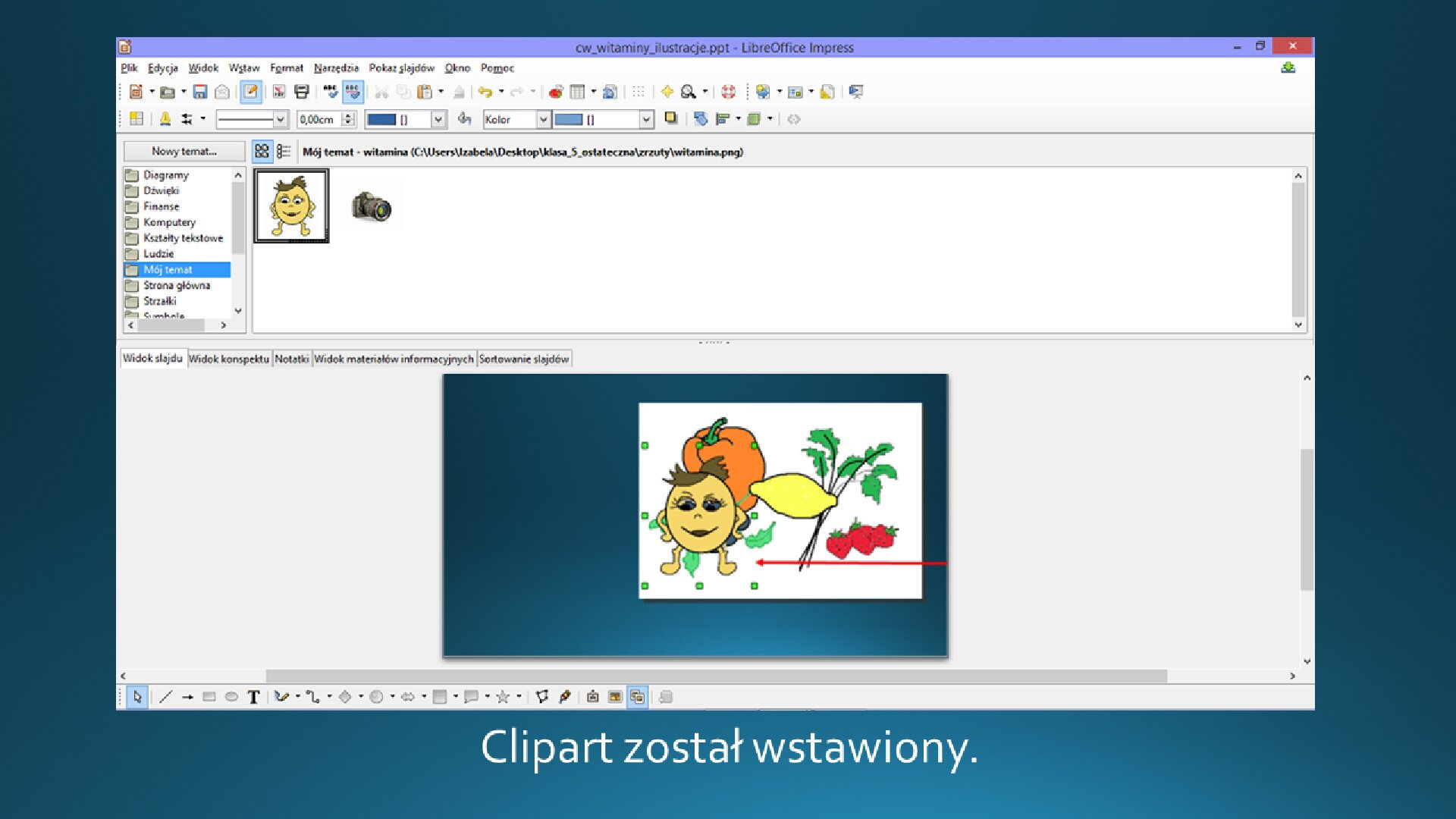 Slajd 4 galerii zrzutów slajdów: Wstawianie clipartu na slajd opustym układzie wprogramie LibreOffice Impress