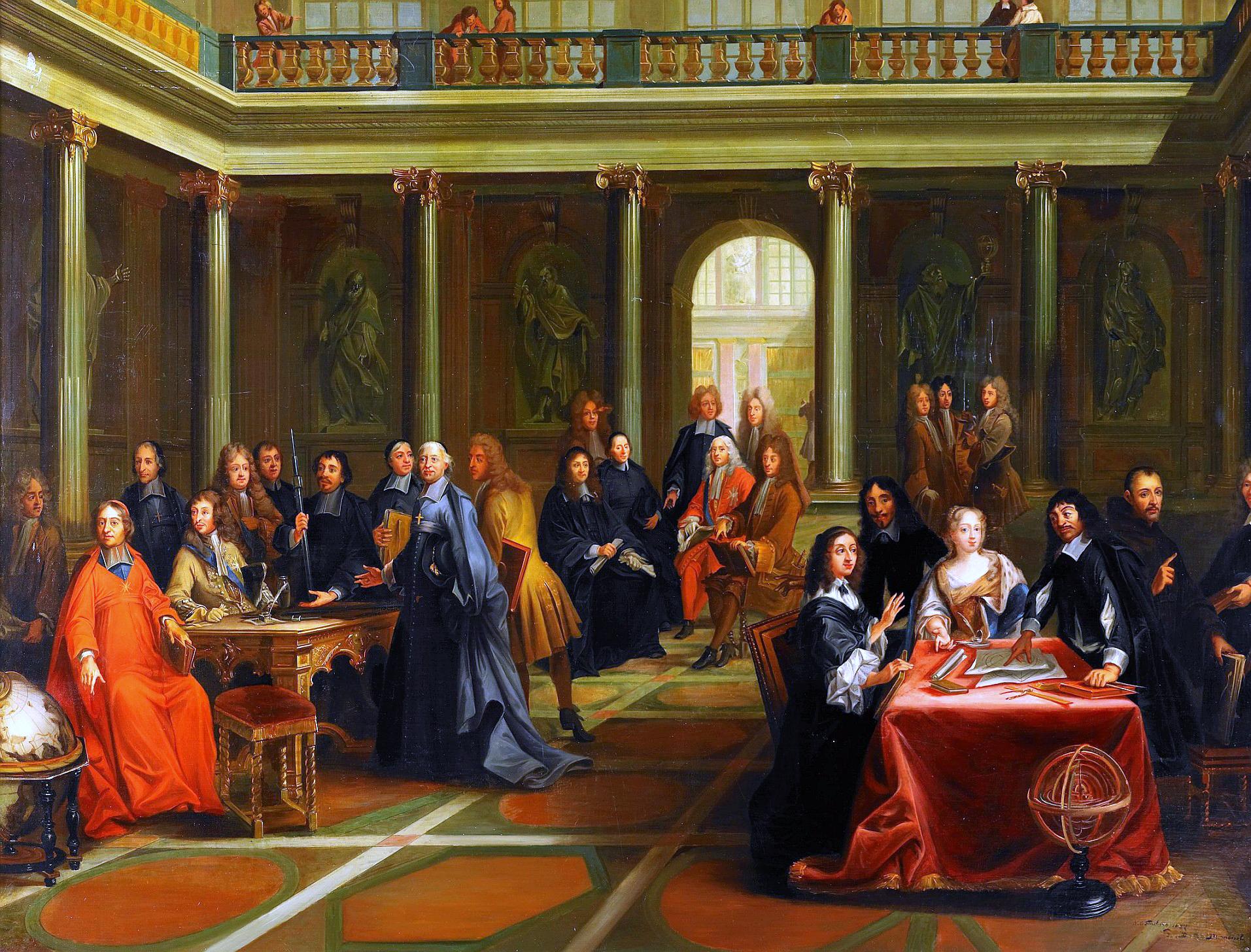 Dyskusja Kartezjusza zkrólową Krystyną Kopia obrazuPierre'a Louisa Dumesnila(1698–1781) przedstawia m.in.Kartezjusza na dworze królowej Krystyny Szwedzkiej. Ostatnie lata życia Kartezjusz spędził właśnie wSzwecji (tam zmarł), gdzie zakładał Akademię Nauk. Źródło: Nils Forsberg, Dyskusja Kartezjusza zkrólową Krystyną, 1884, domena publiczna.