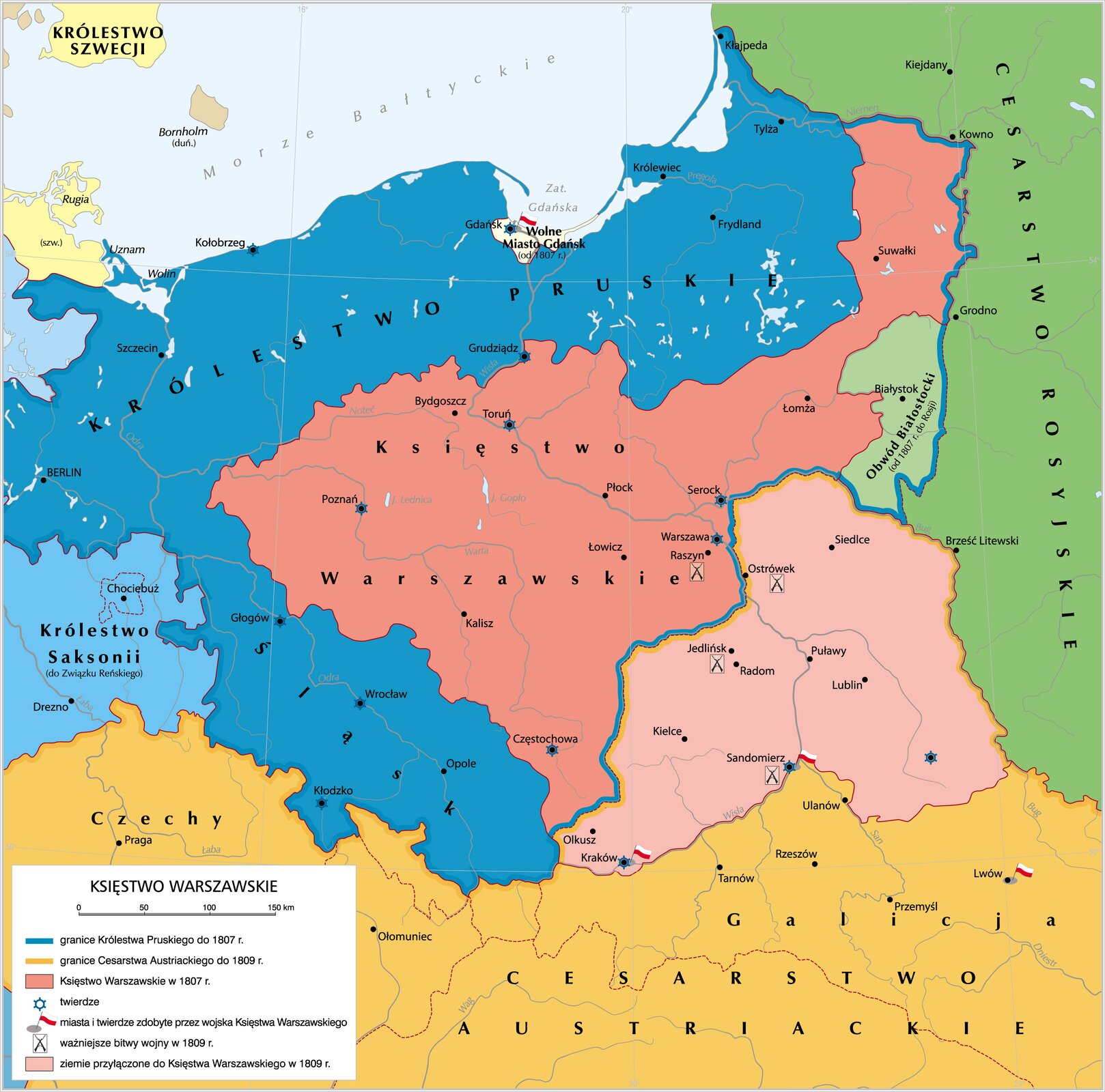 Mapa Księstwo Warszawskie Źródło: Krystian Chariza izespół, licencja: CC BY 3.0.
