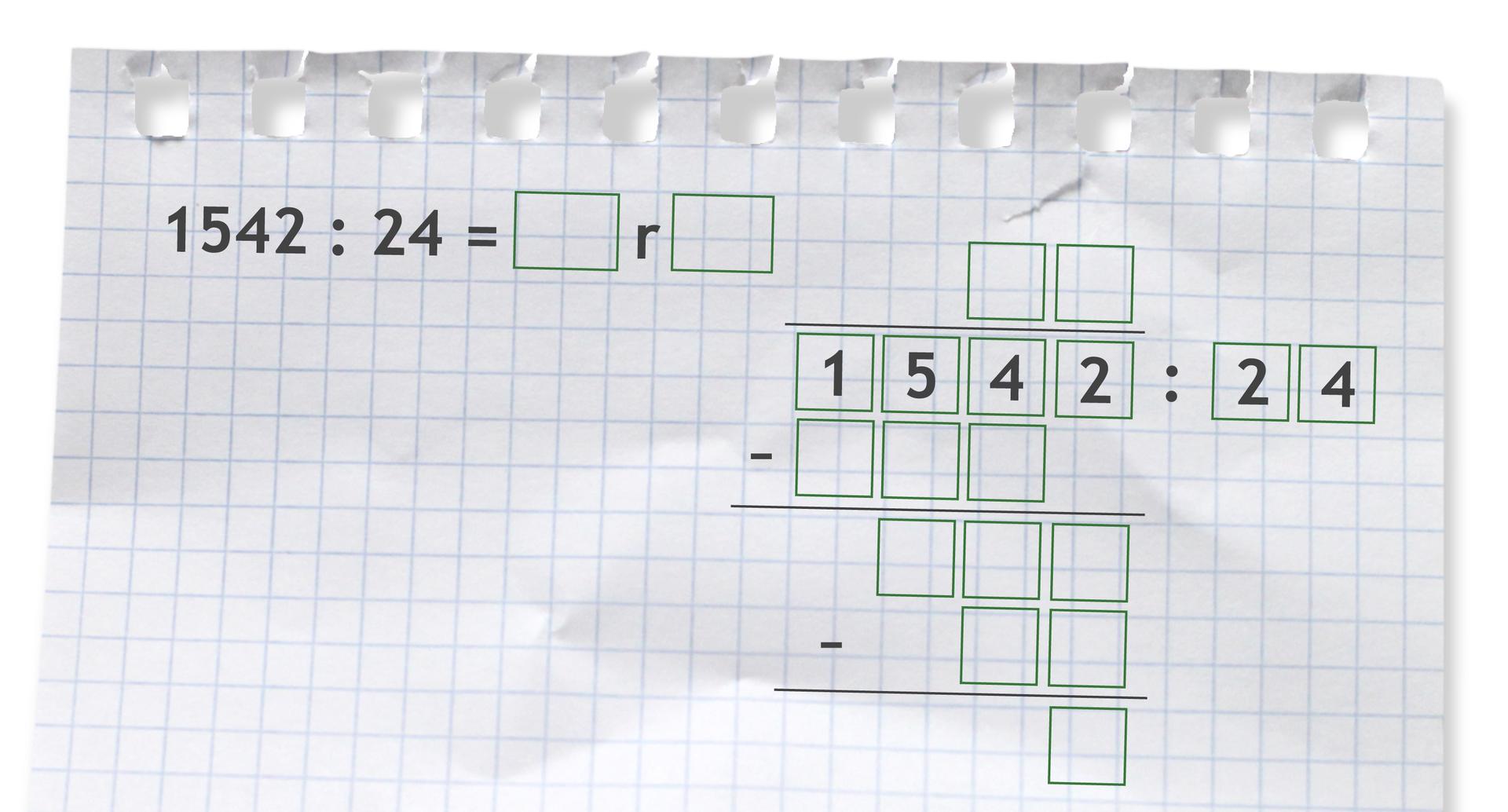 Miejsce do wykonania dzielenia zresztą: 1542 dzielone przez 24.