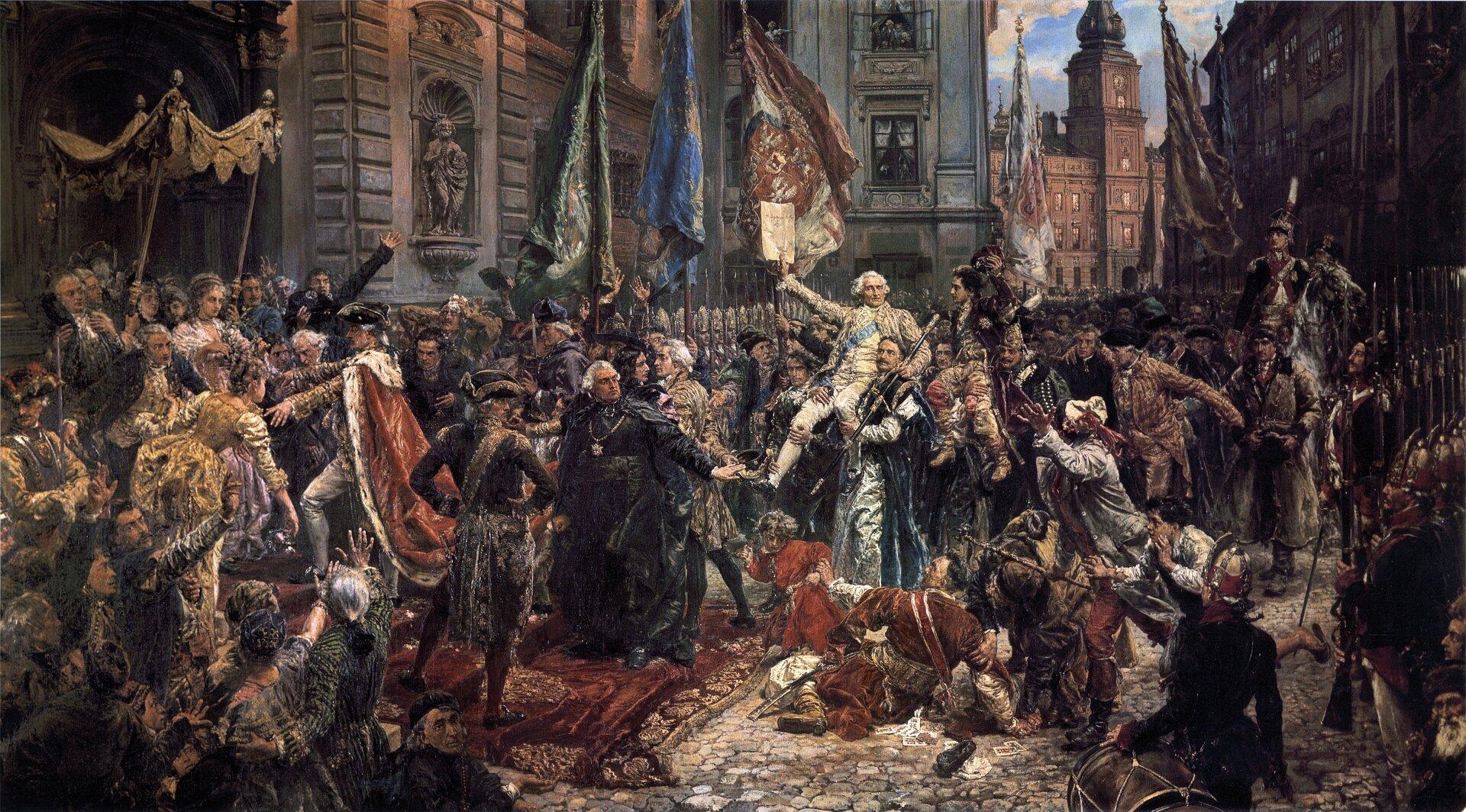 Konstytucja 3 Maja 1791 roku Źródło: Jan Matejko, Konstytucja 3 Maja 1791 roku, 1891, olej na płótnie, Zamek Królewski wWarszawie, domena publiczna.