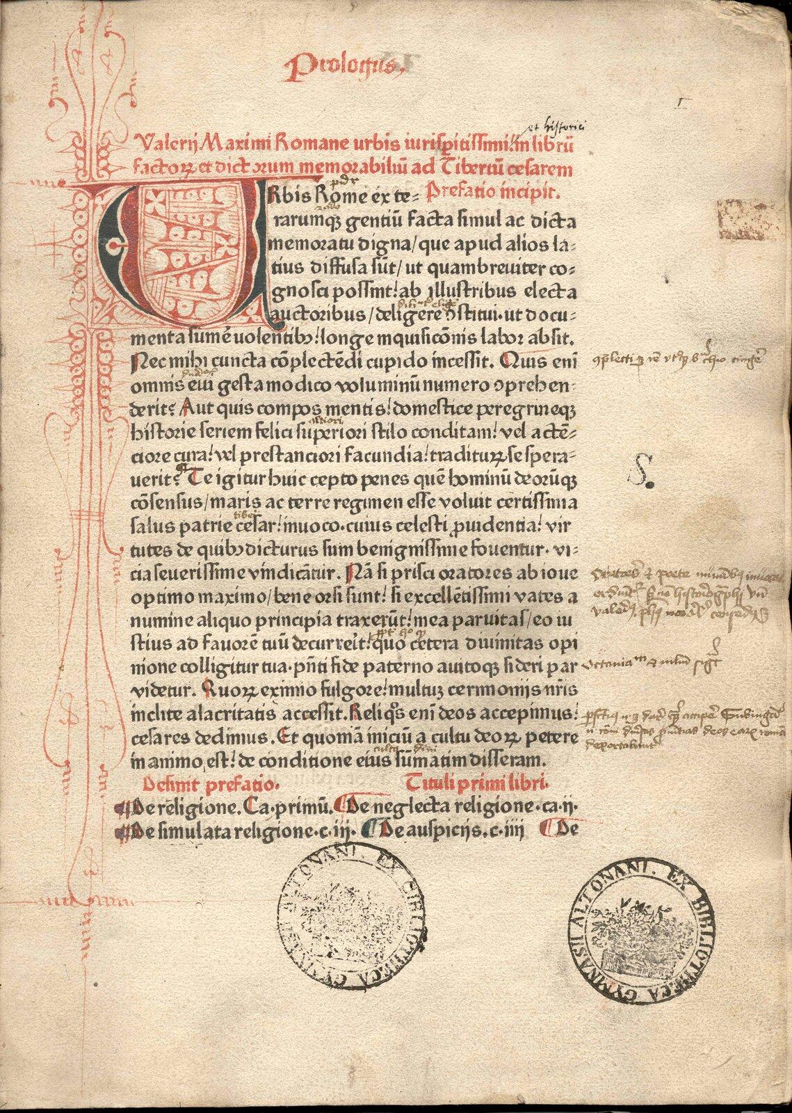Karta średniowiecznego inkunabułu Karta średniowiecznego inkunabułu Źródło: 1471, Bibliotheca Gymnasii Altonani (Hamburg), domena publiczna.