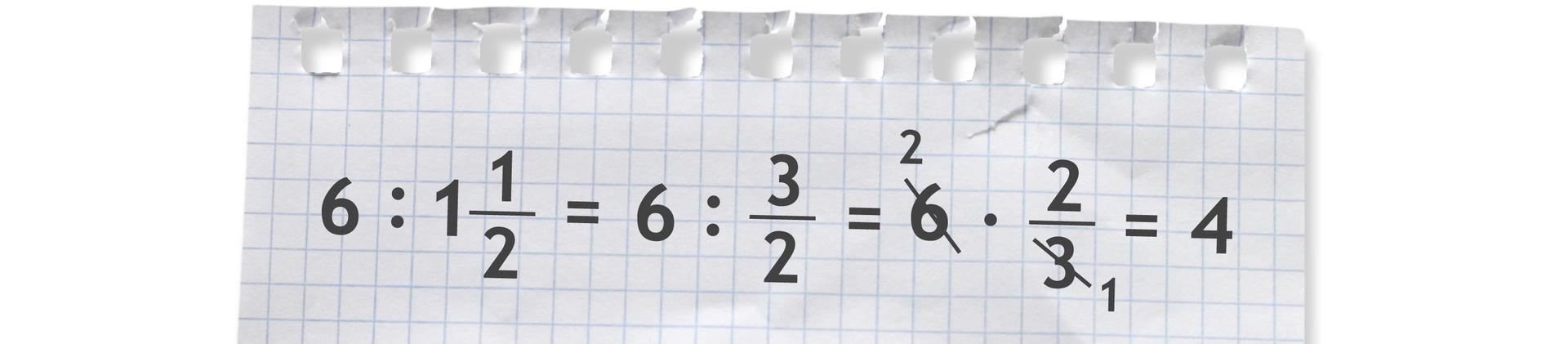 Przykład: 6 dzielone przez jeden ijedna druga równa się 6 dzielone przez trzy drugie równa się 6 razy dwie trzecie =4.