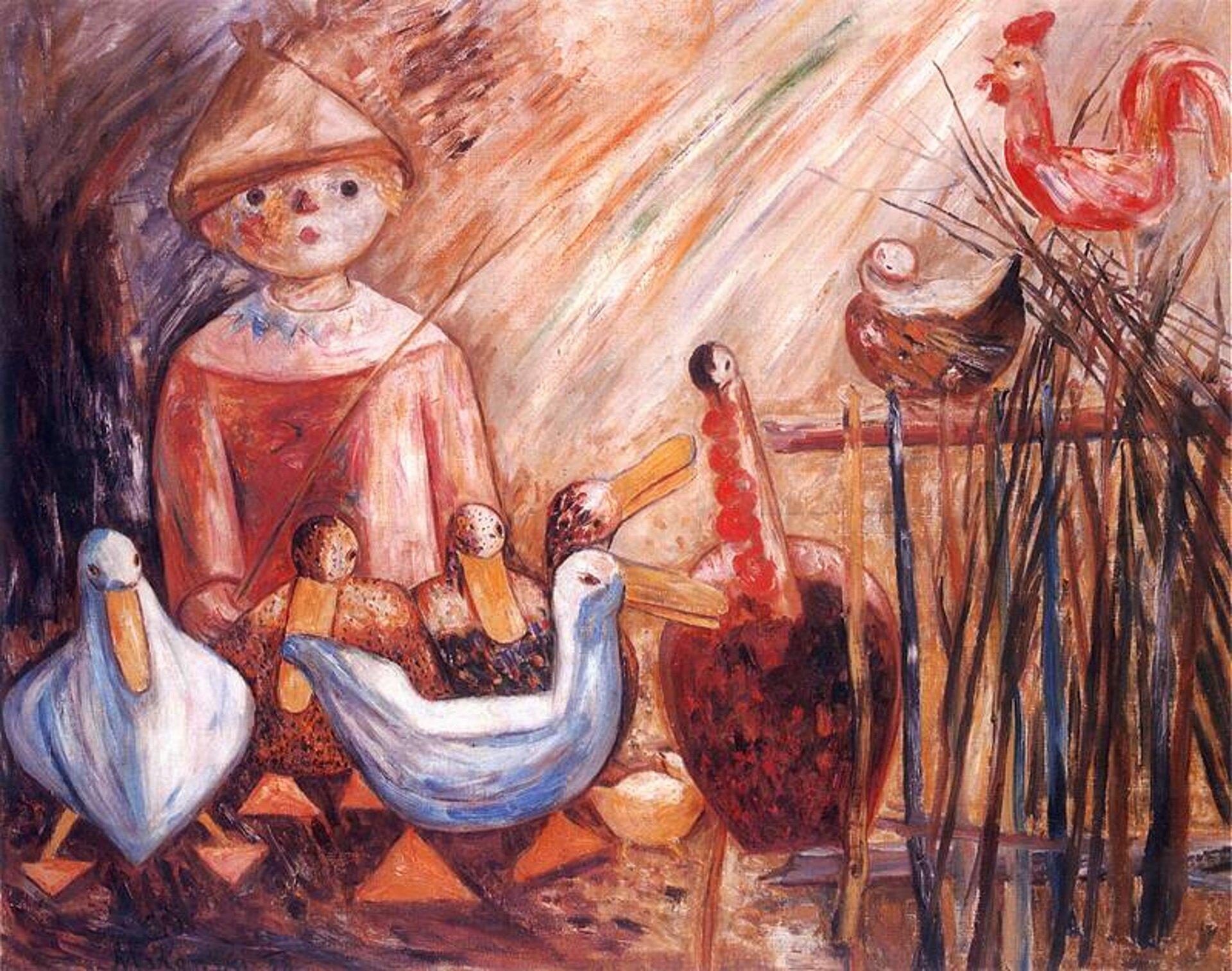 """Ilustracja przedstawia obraz pt. """"Wiejskie podwórko"""" autorstwa Tadeusza Makowskiego. Dzieło ukazuje postać chłopca wczapce wkształcie stożka. Młodzieniec przygląda się zgromadzonym wokół niego kaczkom, kogutowi igęsi. Po prawej stronie widoczny jest fragment płotu, na którym siedzi kogut ikura."""