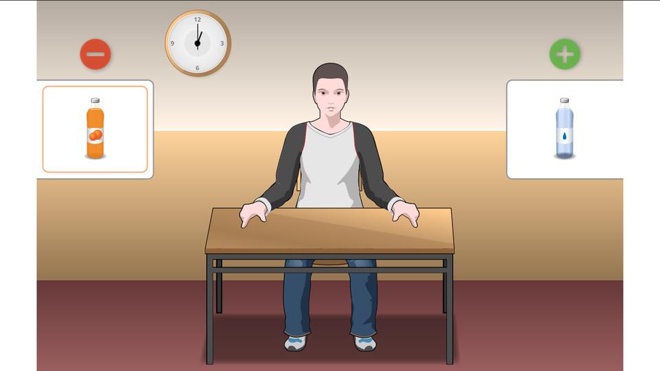 Ilustracja przedstawia chłopca, siedzącego przy biurku. Zlewej butelka zczerwoną zawartością, wyżej znak minus. Zprawej butelka zwodą iznak plus.