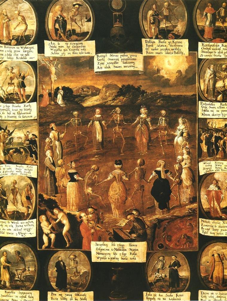 Taniec śmierci Źródło: Taniec śmierci, około 1670, olej na płótnie, kościół ojców Bernardynów wKrakowie, domena publiczna.