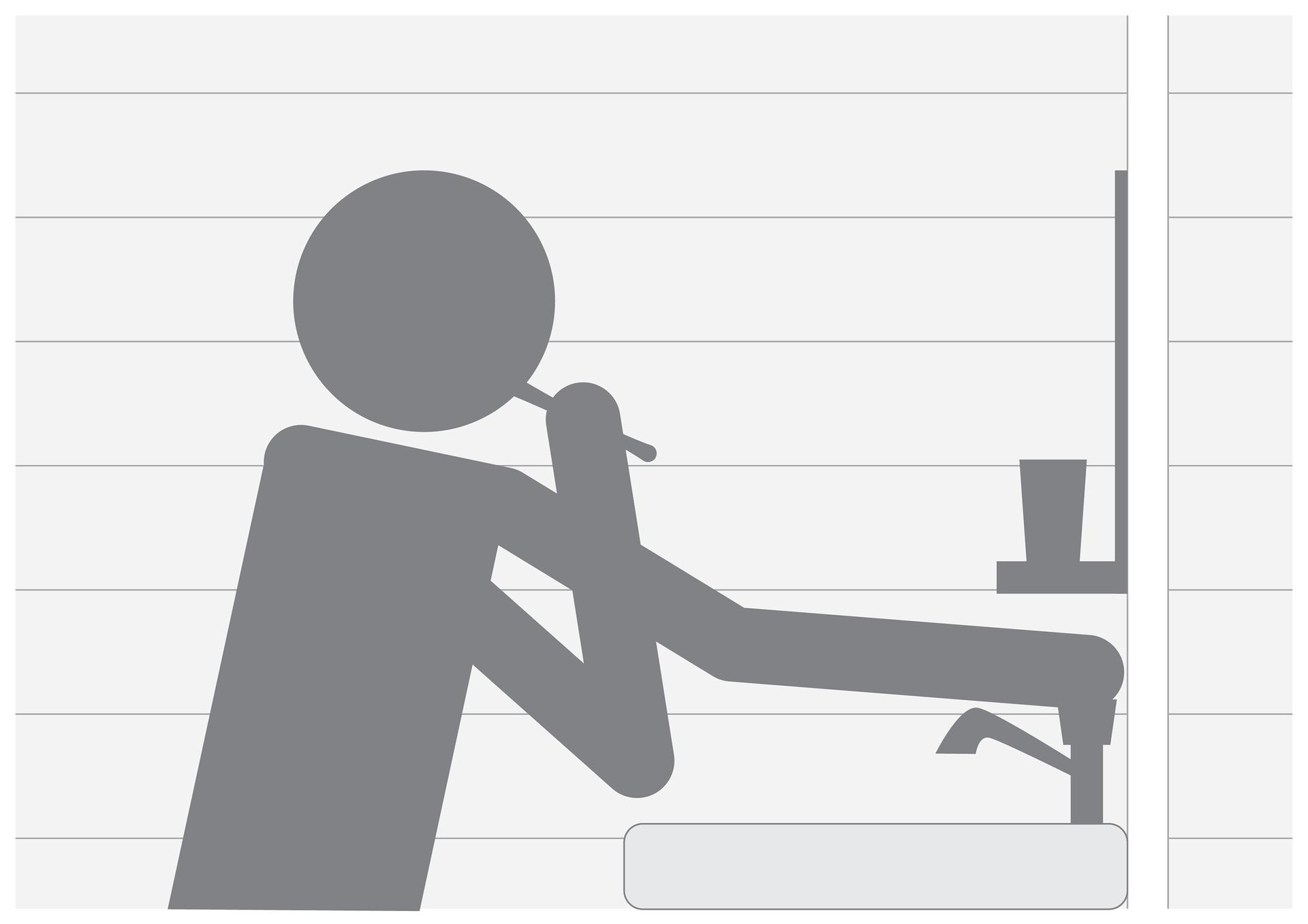 Czwarta ilustracja wgalerii. Przedstawia czarno biały symboliczny rysunek człowieka myjącego zęby przy umywalce ijednocześnie drugą ręką zakręcającego kran.