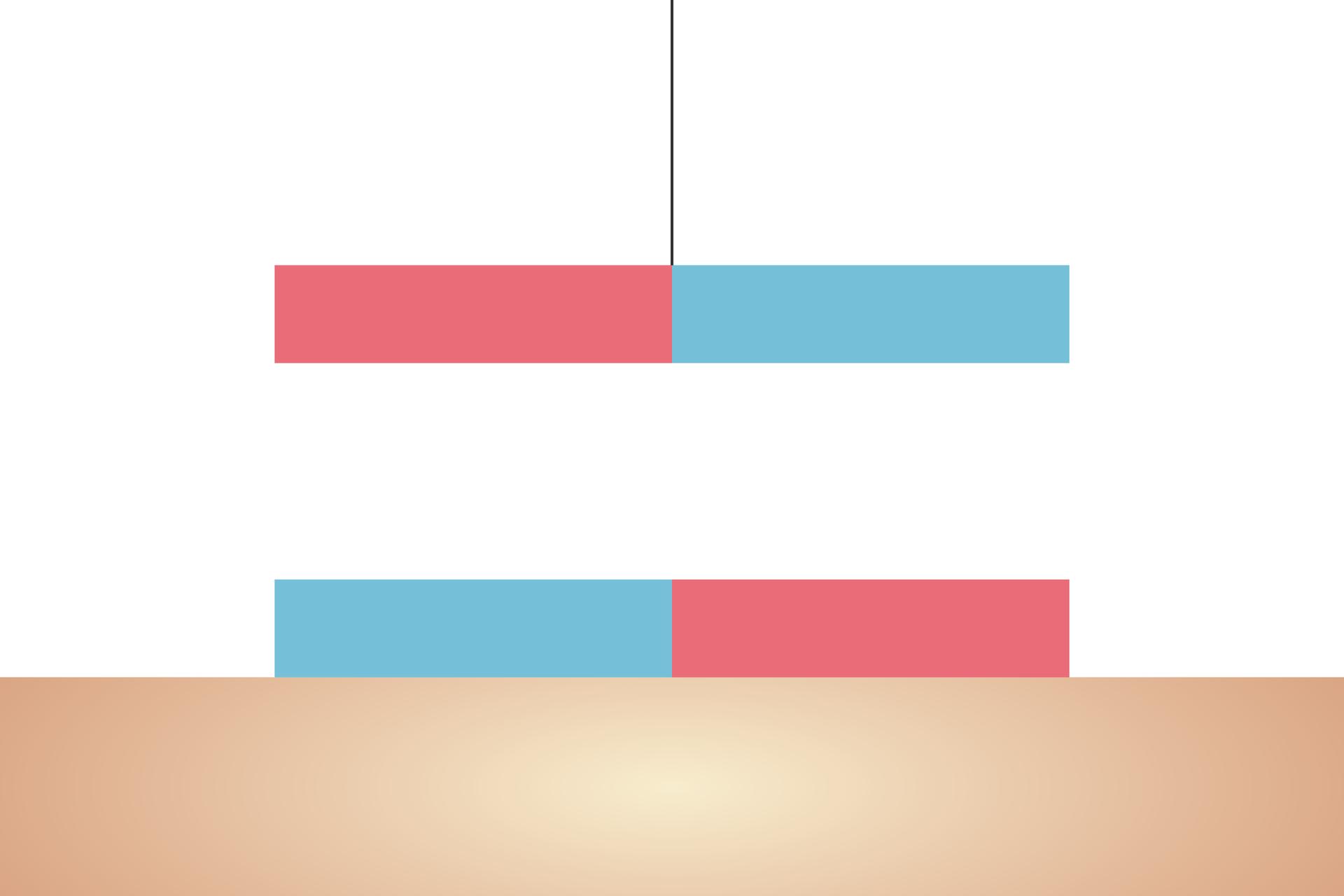 Grafika przedstawiająca dwa magnesy, jeden ugóry na nitce