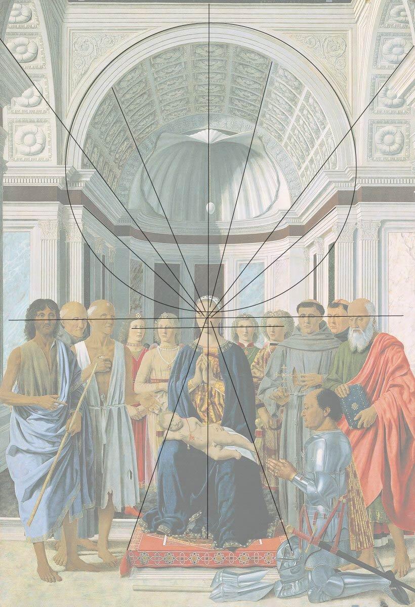 Schemat perspektywiczny Madonny wśród świętych,Piero della Francesca Schemat perspektywiczny Madonny wśród świętych,Piero della Francesca Źródło: licencja: CC BY-SA 3.0.