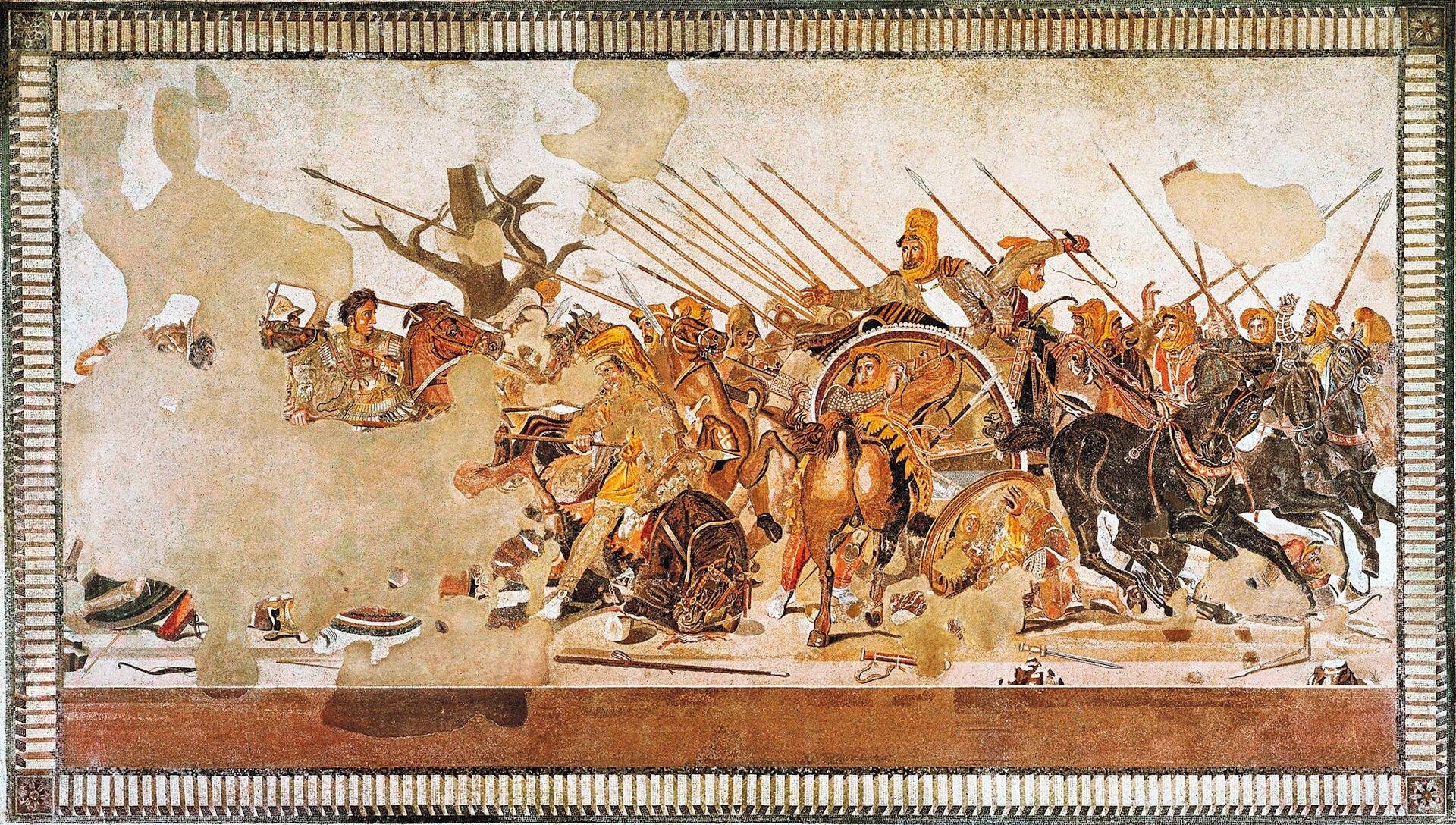 Ilustracja przedstawia mozaikę pochodzącą ztzw. Domu Fauna wPompejach. Ukazana jest na niej bitwa Macedończyków zPersami pod Issos w333 r. p.n. e. Przedstawieni są żołnierze walczący konno na polu bitwy. Zlewej strony obrazu znajduje się Aleksander Wielki na koniu. Ubrany jest wsrebrną zbroję; ma czarne krótkie włosy iduże oczy. Naciera na króla Persów – Dariusza, który siedzi na kwadrydze obok woźnicy. Mimo, że jest atakowany ze wszystkich stron, wychyla się zpowozu wyciągając przed siebie rękę. Ma na głowie żółtą chustę; ubrany jest wciemną szatę ijasną koszulę. Po lewej stronie ilustracji znajduje się nagie drzewo symbolizujące zimę – porę roku, podczas której rozegrano bitwę.