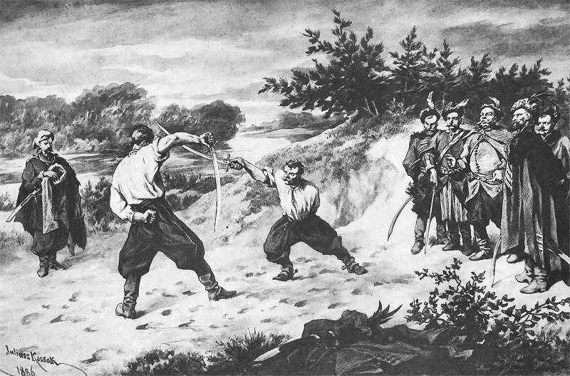 Pojedynek Wołodyjowskiego zBohunem Źródło: Juliusz Kossak, Pojedynek Wołodyjowskiego zBohunem, 1886, rysunek: sepia ipiórko, domena publiczna.