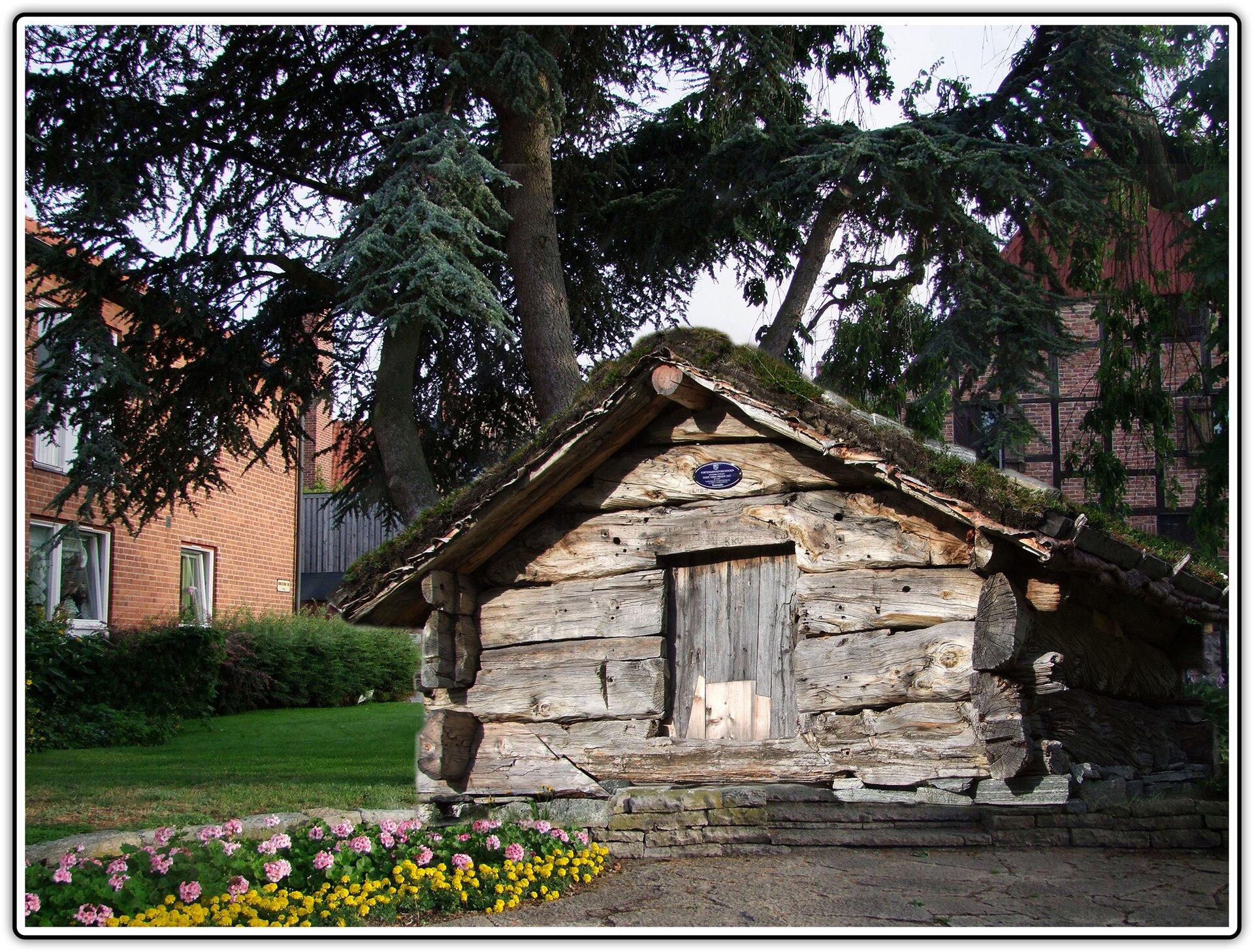Fotografia po fotomontażu przedstawiająca starą chatę na tle współczesnych budynków