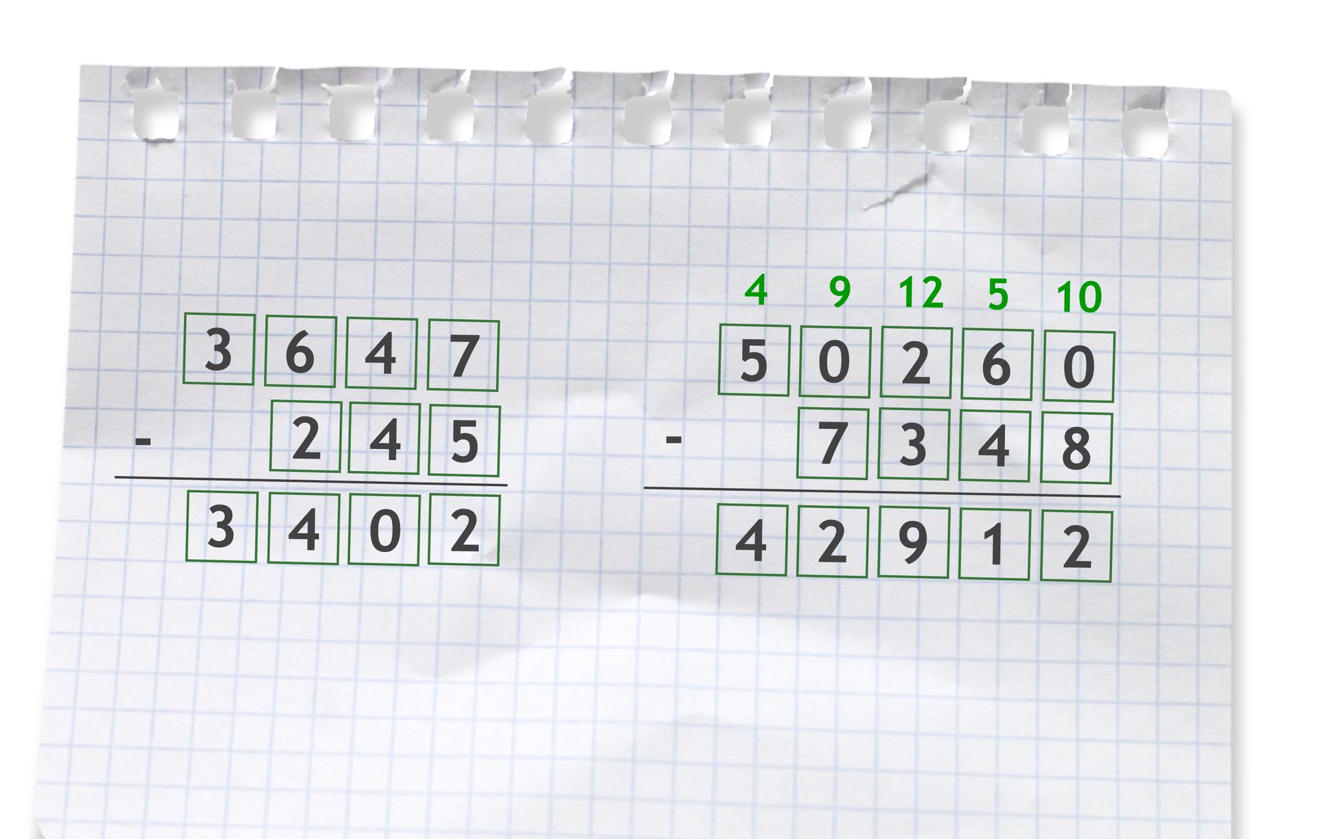 Przykłady dwóch działań pisemnych: pierwszy: 3647 -245 =3402, drugi: 50260 -7348 =42912.