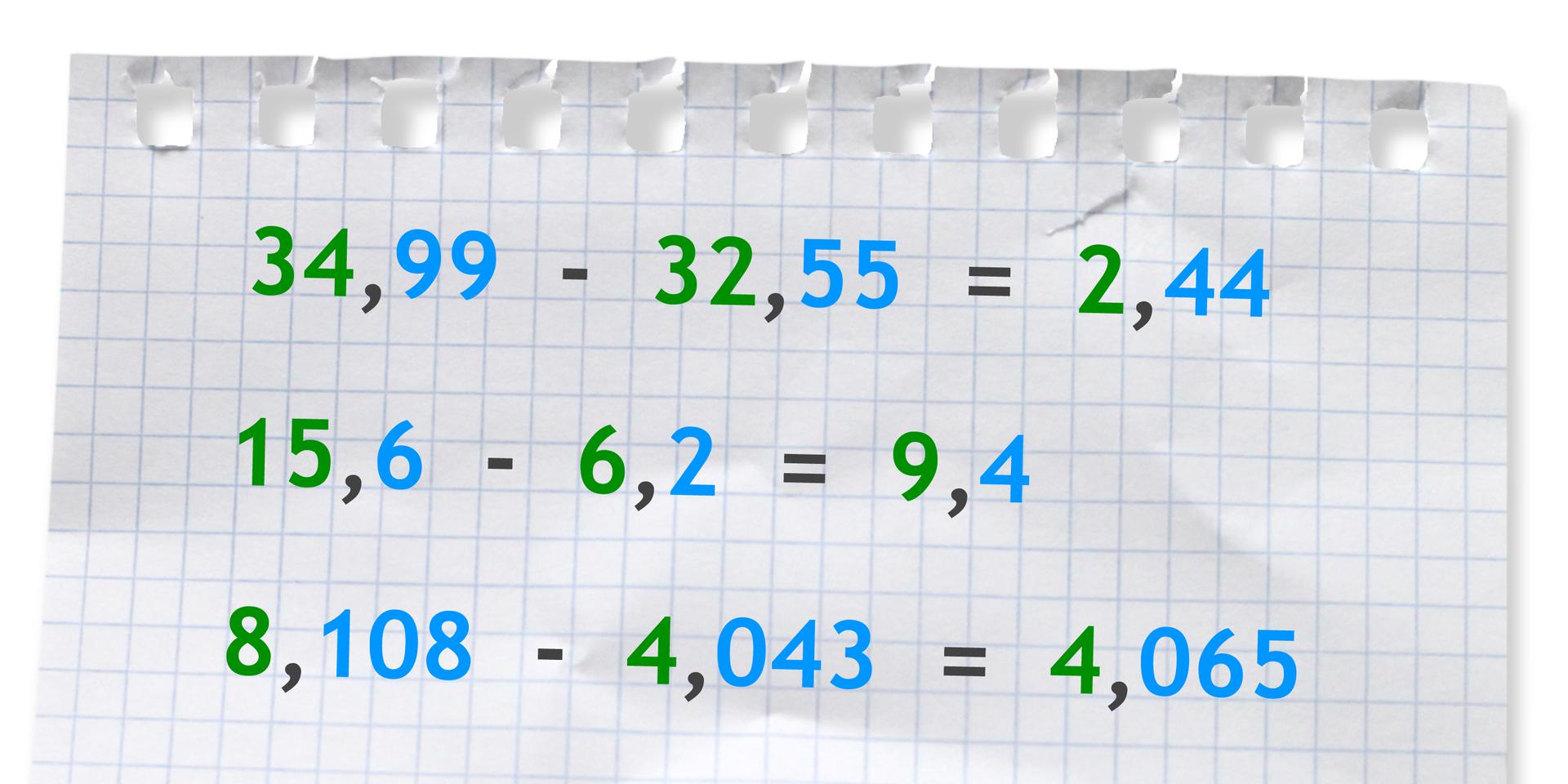 """""""Przykłady: 34,99 -32,55 =2,44"""
