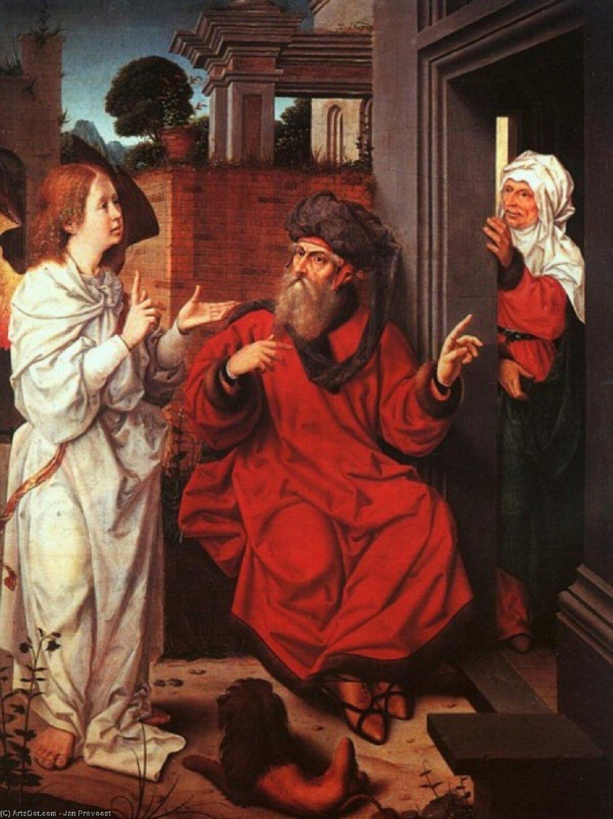 """Ilustracja przedstawia obraz """"Abraham, Sarah iAnioł"""" autorstwa Jana Provoosta. Obraz ukazuje postać mężczyzny oimieniu Abraham, kobietę oimieniu Sara oraz postać Anioła. Mężczyzna siedzi ubrany wczerwoną szatę oraz ciemne nakrycie głowy. Postać ma długą siwią brodę oraz wąsy. Obok mężczyzny znajduje się postać anioła ubranego wbiałą szatę. Zza drzwi wychyla się postać starszej kobiety - Sary. Kobieta ma jasne nakrycie głowy oraz zielono-czerwone ubranie."""