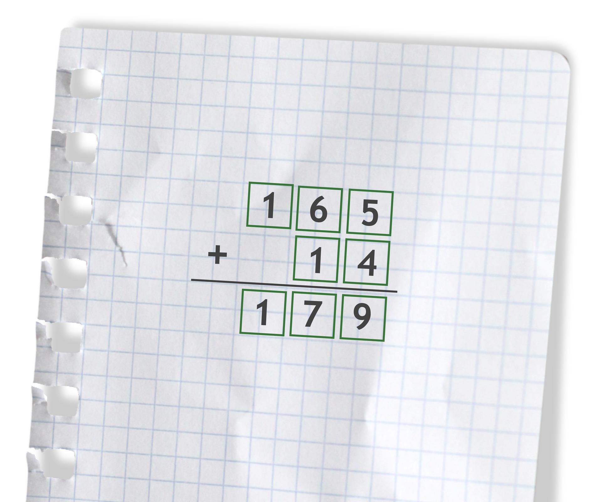 Przykład: 165 +14 =179. Rozwiązanie zadania podpunkt c.