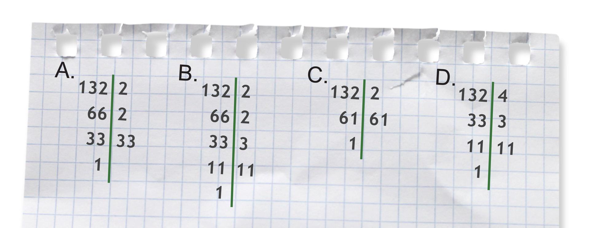 Przykłady rozłożenia liczby 12 na czynniki. Wpierwszym po lewej stronie kreski liczby: 132, 66, 33, 1. Po prawej stronie kreski liczby: 2, 2, 33. Wdrugim po lewej stronie kreski podane liczby: 132, 66, 33, 11, 1. Po prawej stronie kreski podane liczby: 2, 2, 3, 11. Wtrzecim po lewej stronie kreski podane liczby: 132, 61, 1. Po prawej stronie kreski podane liczby: 2, 61. Wczwartym olewej stronie kreski podane liczby: 132, 33, 11, 1. Po prawej stronie kreski podane liczby: 4, 3, 11.