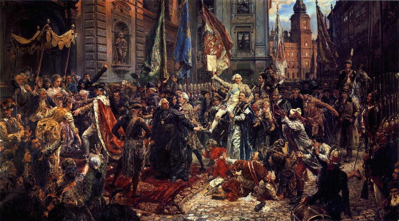 Konstytucja 3 maja 1791 roku Źródło: Jan Matejko, Konstytucja 3 maja 1791 roku, olej na płótnie, Zamek Królewski wWarszawie, domena publiczna.