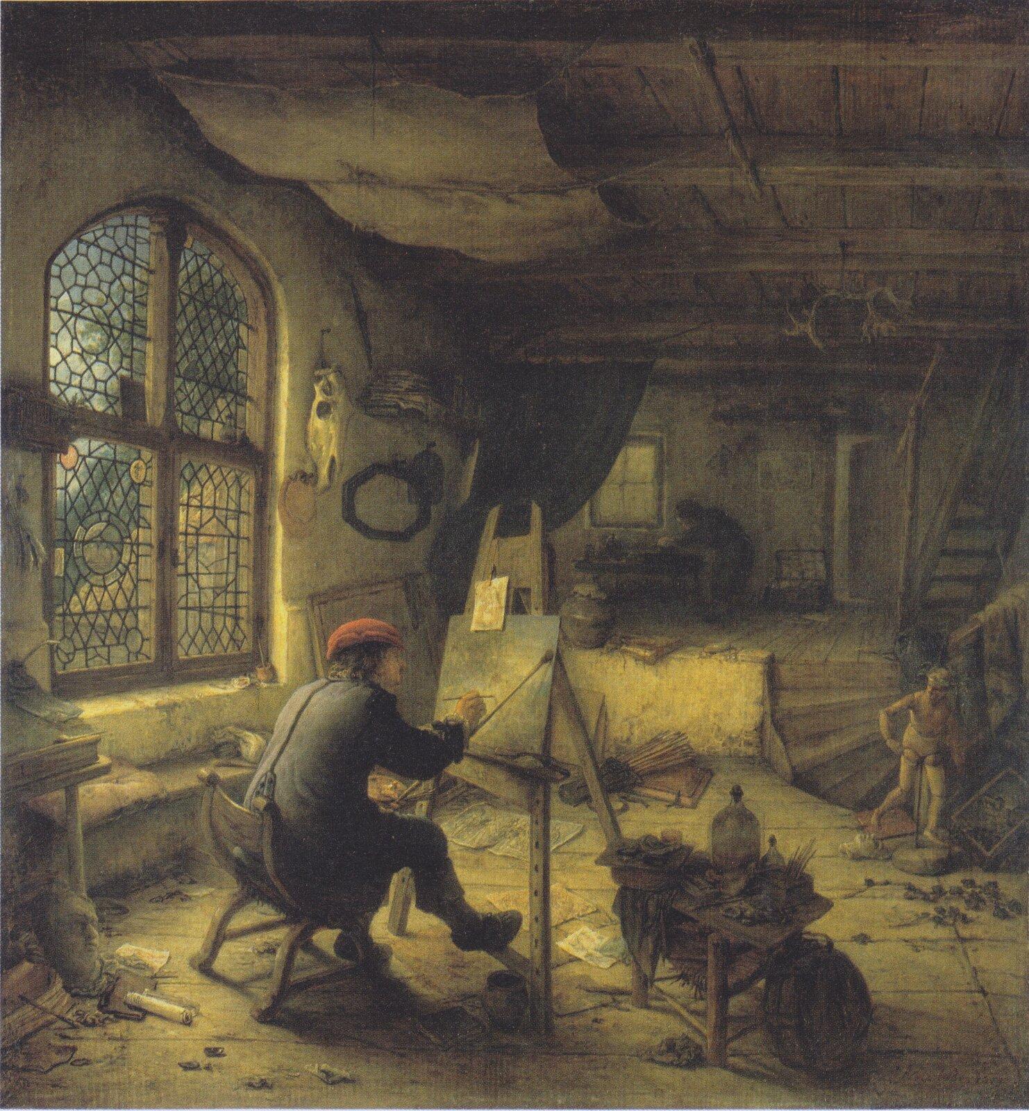Malarz wswojej pracowni Źródło: Adriaen van Ostade, Malarz wswojej pracowni, 1663, olej na płycie dębowej, domena publiczna.